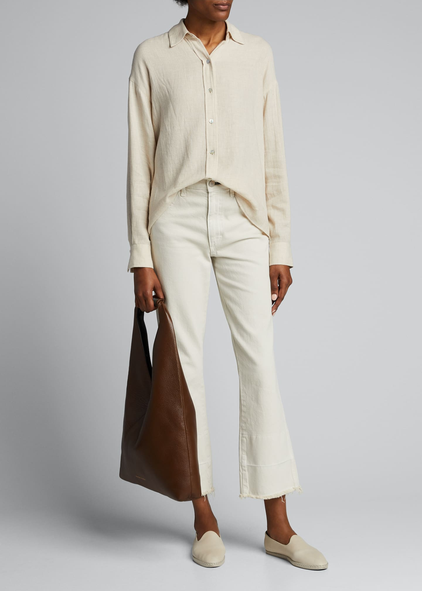 Image 1 of 5: Boxy Long-Sleeve Button-Down Top