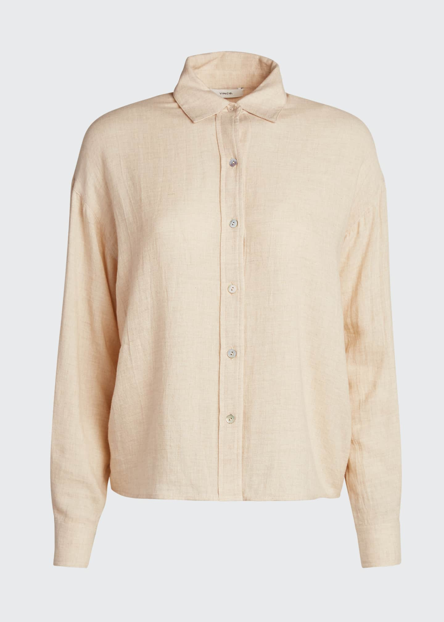 Image 5 of 5: Boxy Long-Sleeve Button-Down Top