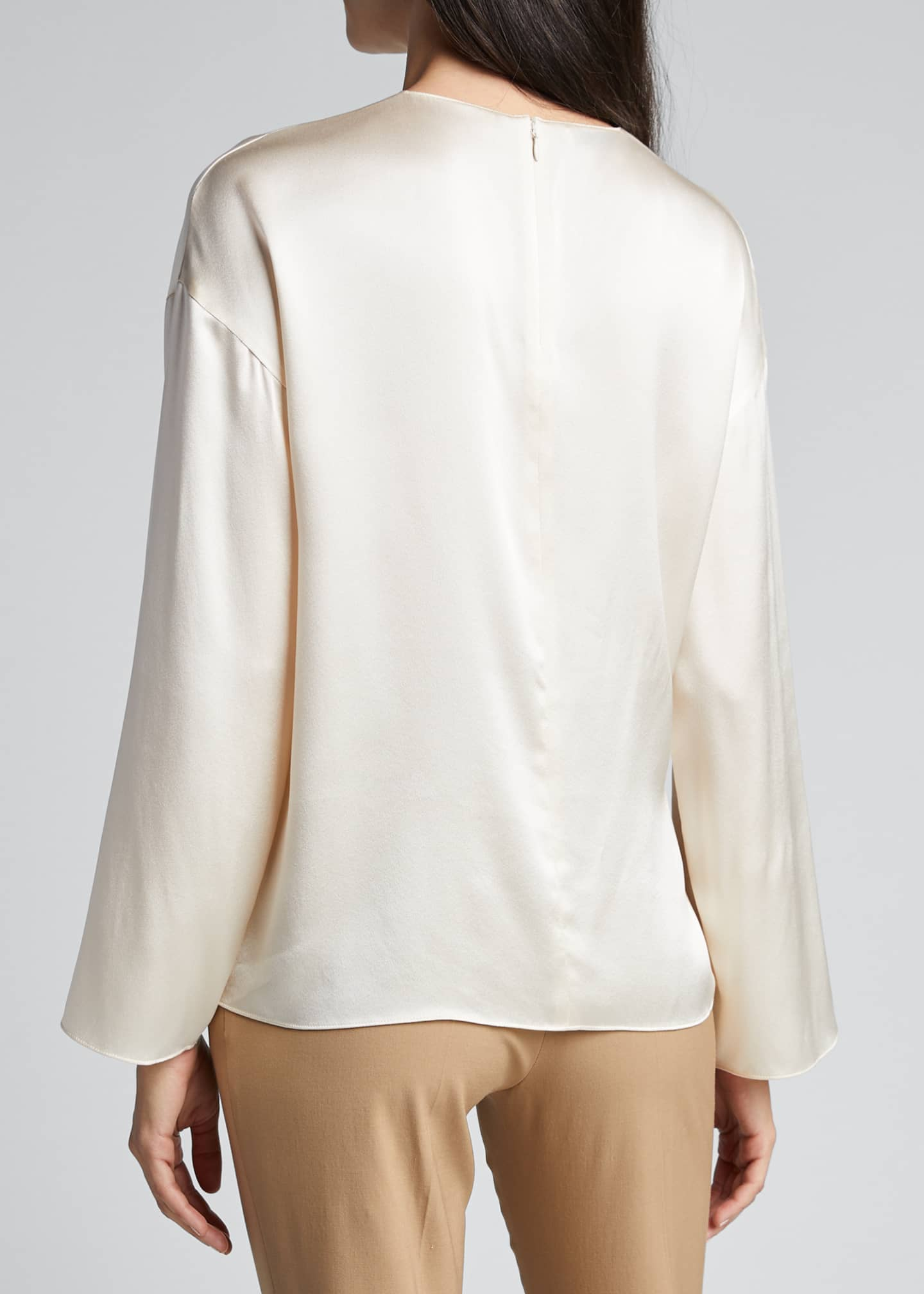 Image 2 of 5: Knot Front Long-Sleeve Silk Blouse