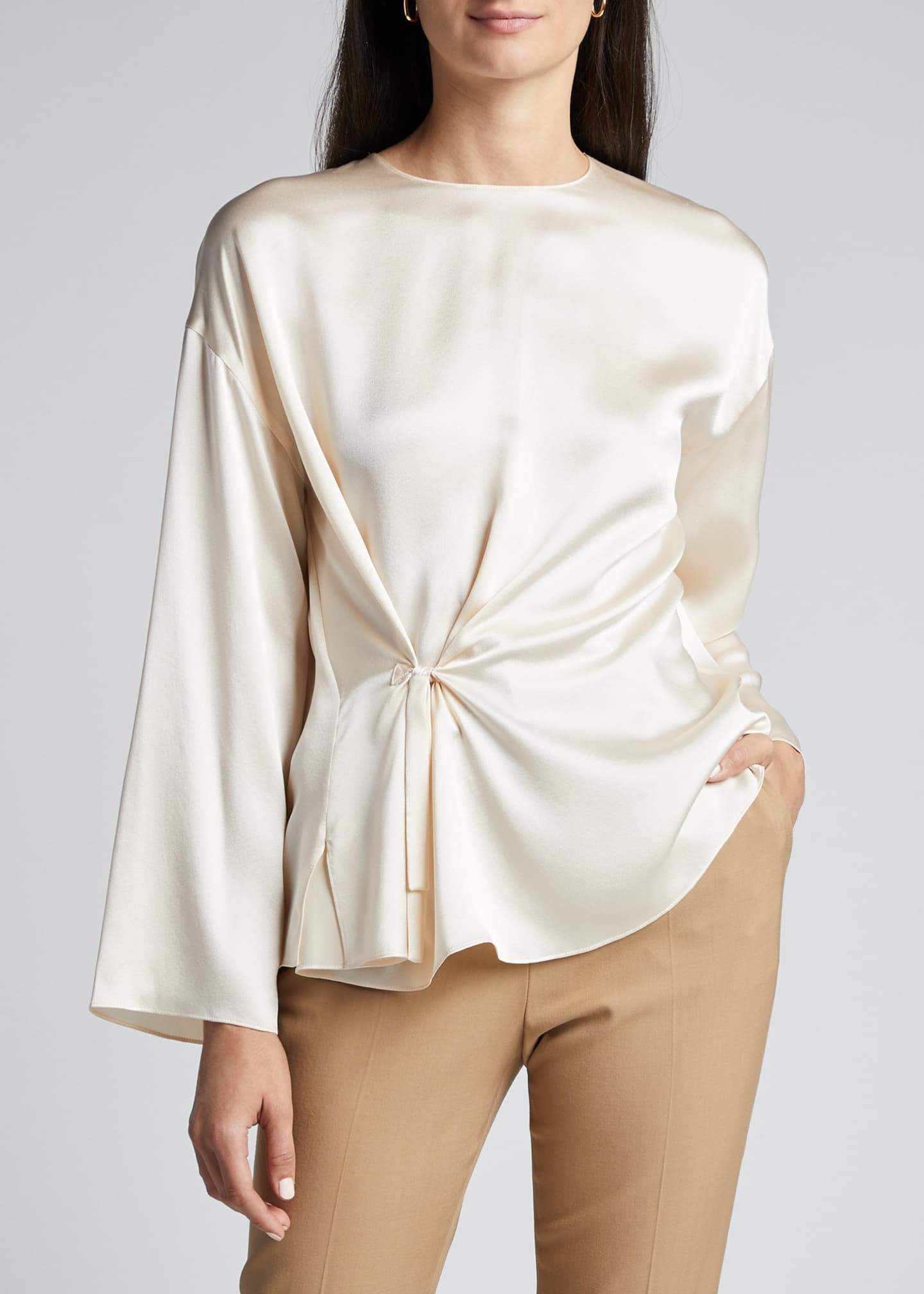 Image 3 of 5: Knot Front Long-Sleeve Silk Blouse