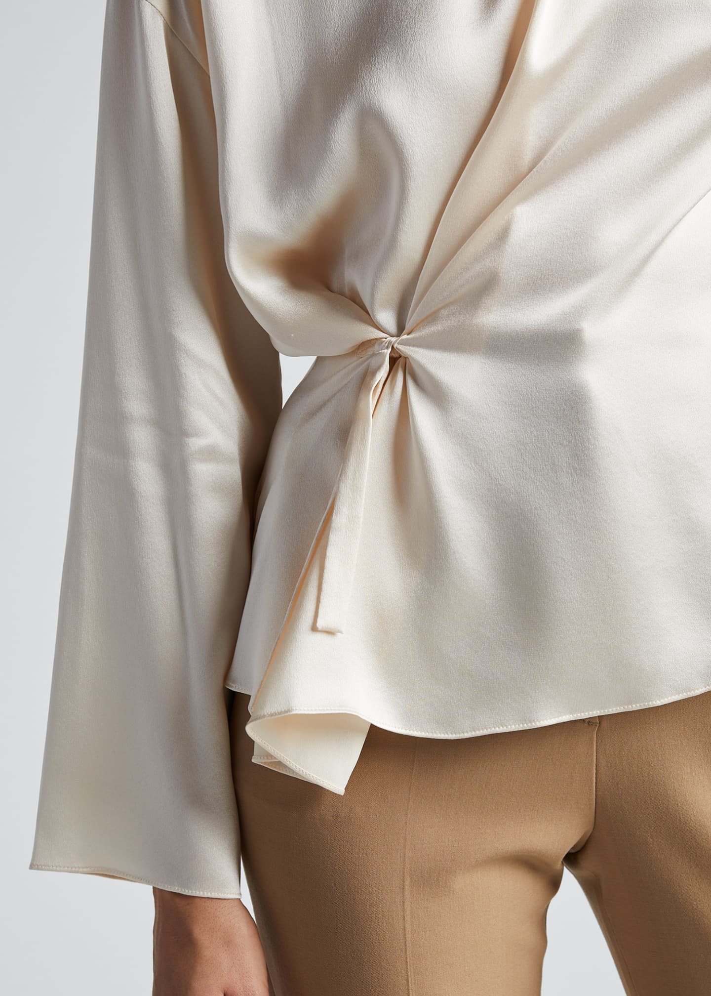 Image 4 of 5: Knot Front Long-Sleeve Silk Blouse