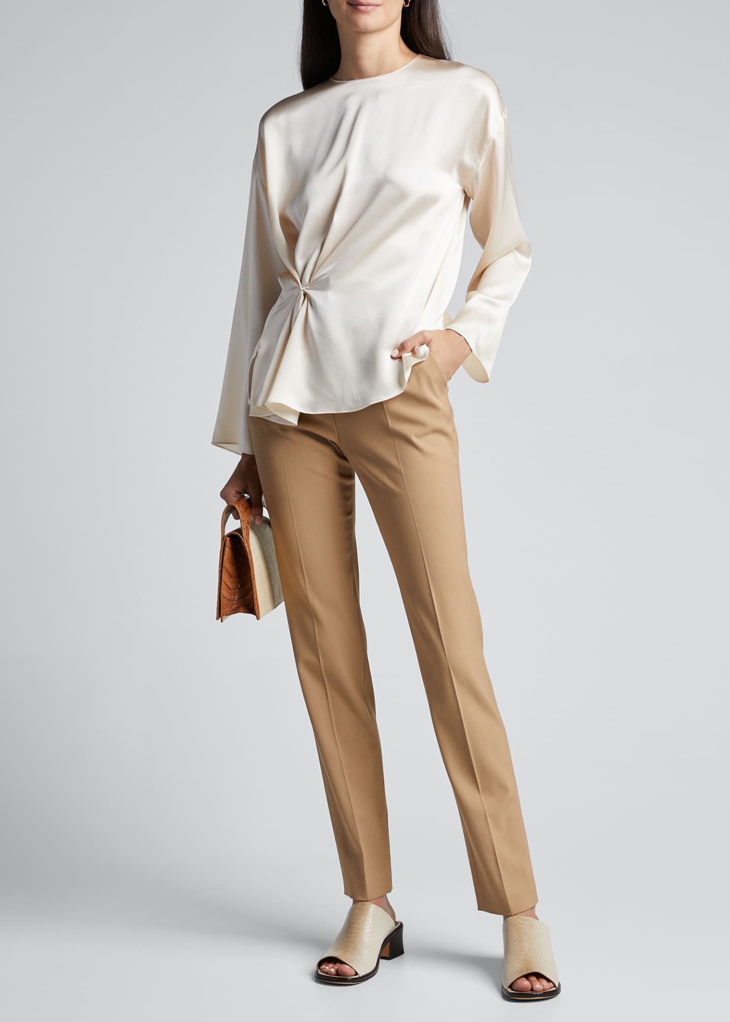 Image 1 of 5: Knot Front Long-Sleeve Silk Blouse