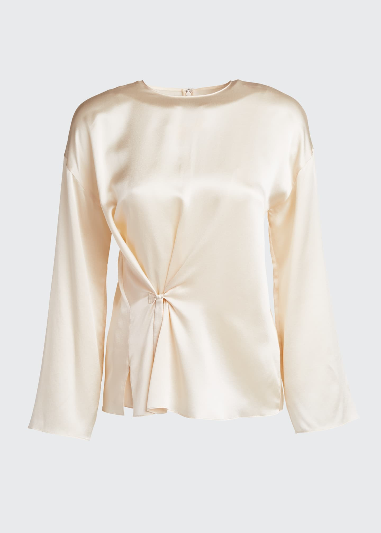 Image 5 of 5: Knot Front Long-Sleeve Silk Blouse