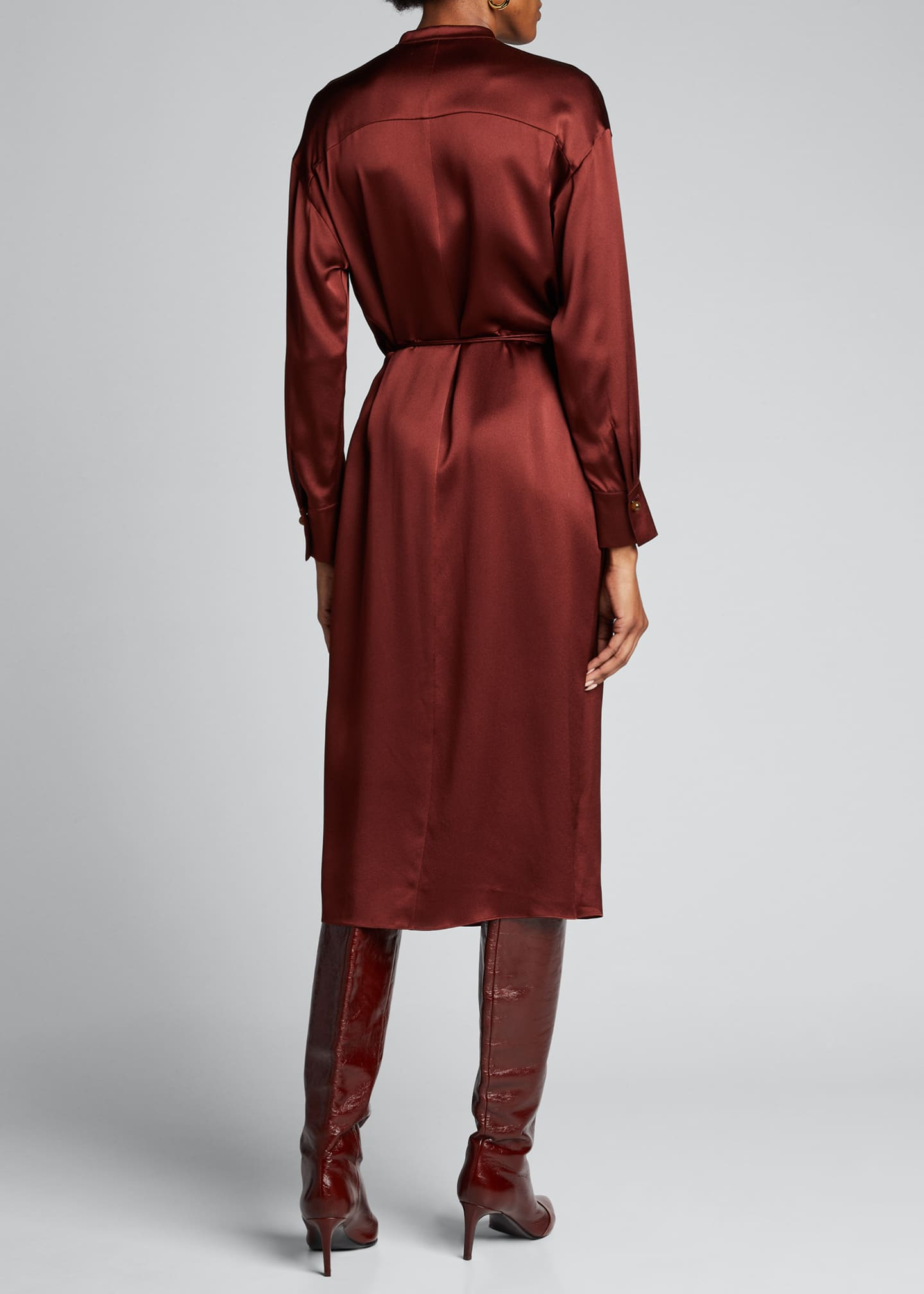 Image 2 of 5: Silk Charmeuse Long-Sleeve Wrap Dress