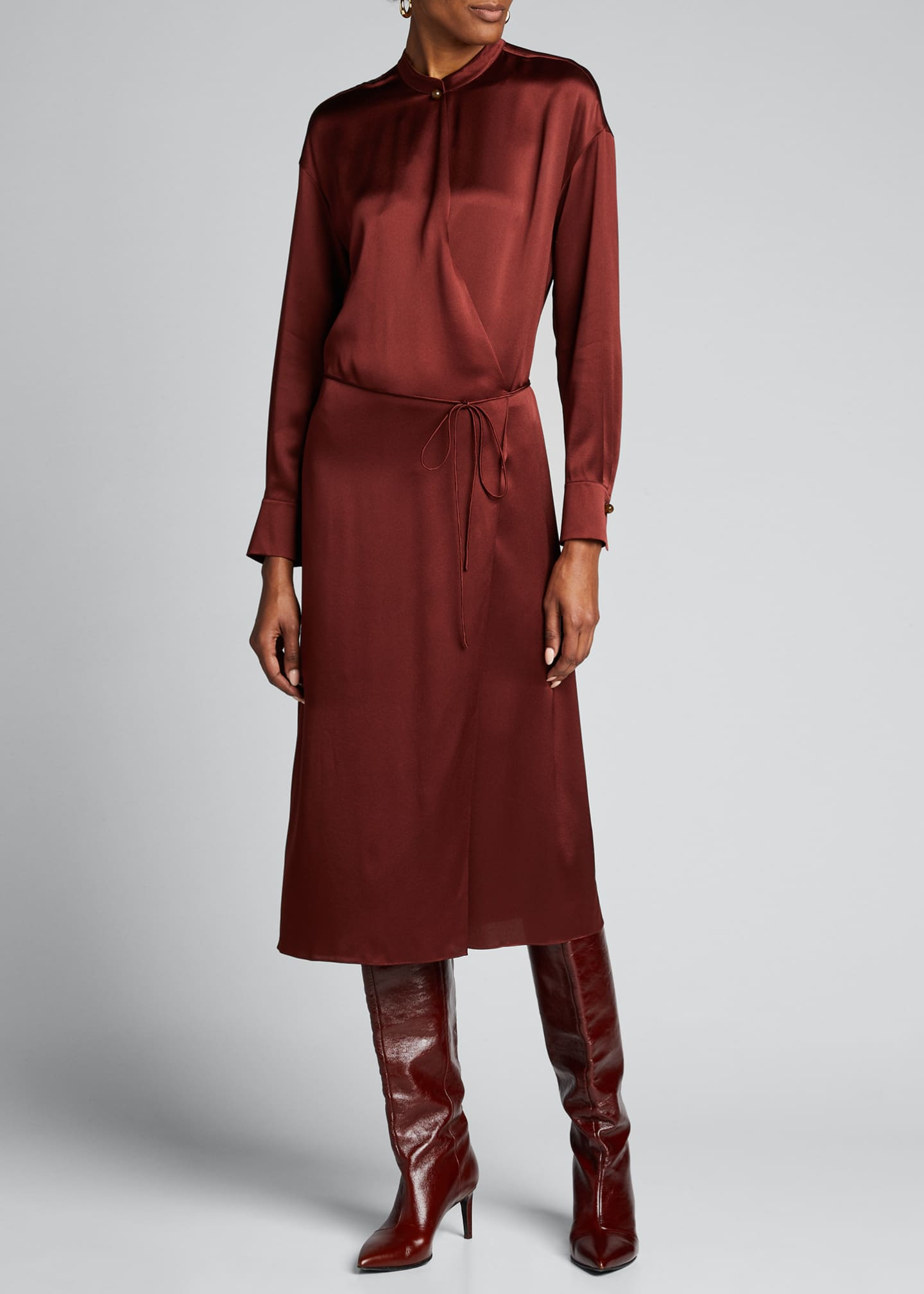 Image 3 of 5: Silk Charmeuse Long-Sleeve Wrap Dress
