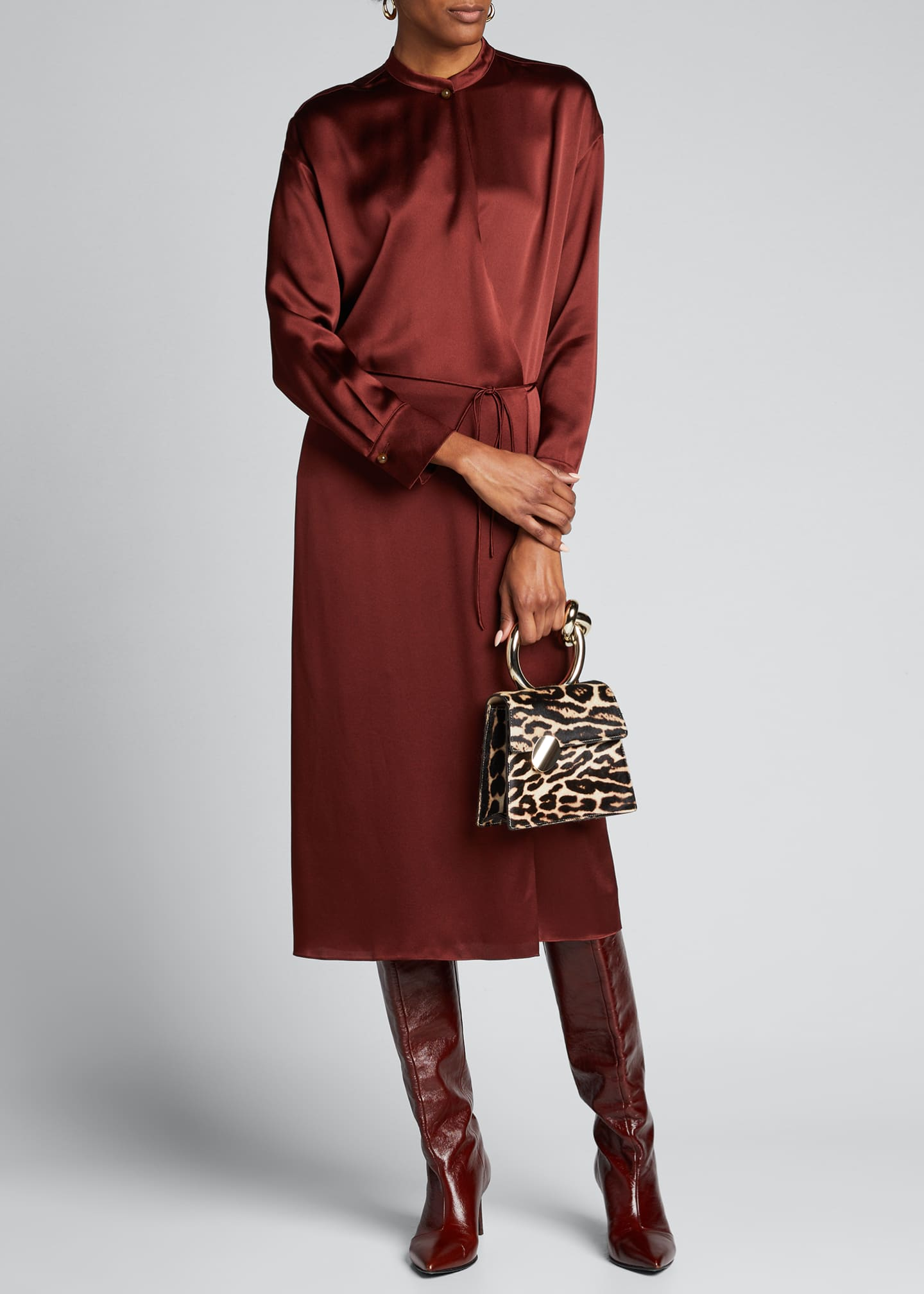 Image 1 of 5: Silk Charmeuse Long-Sleeve Wrap Dress