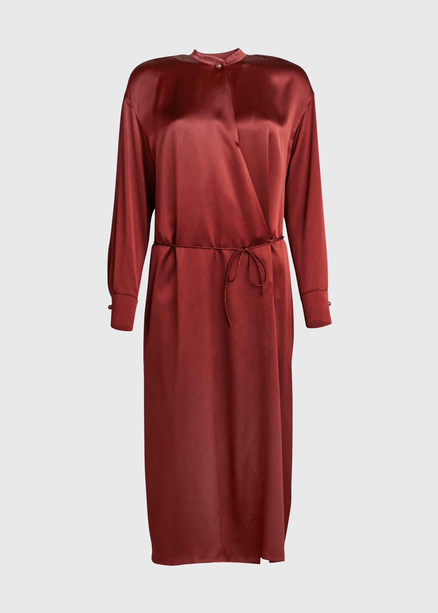 Image 5 of 5: Silk Charmeuse Long-Sleeve Wrap Dress