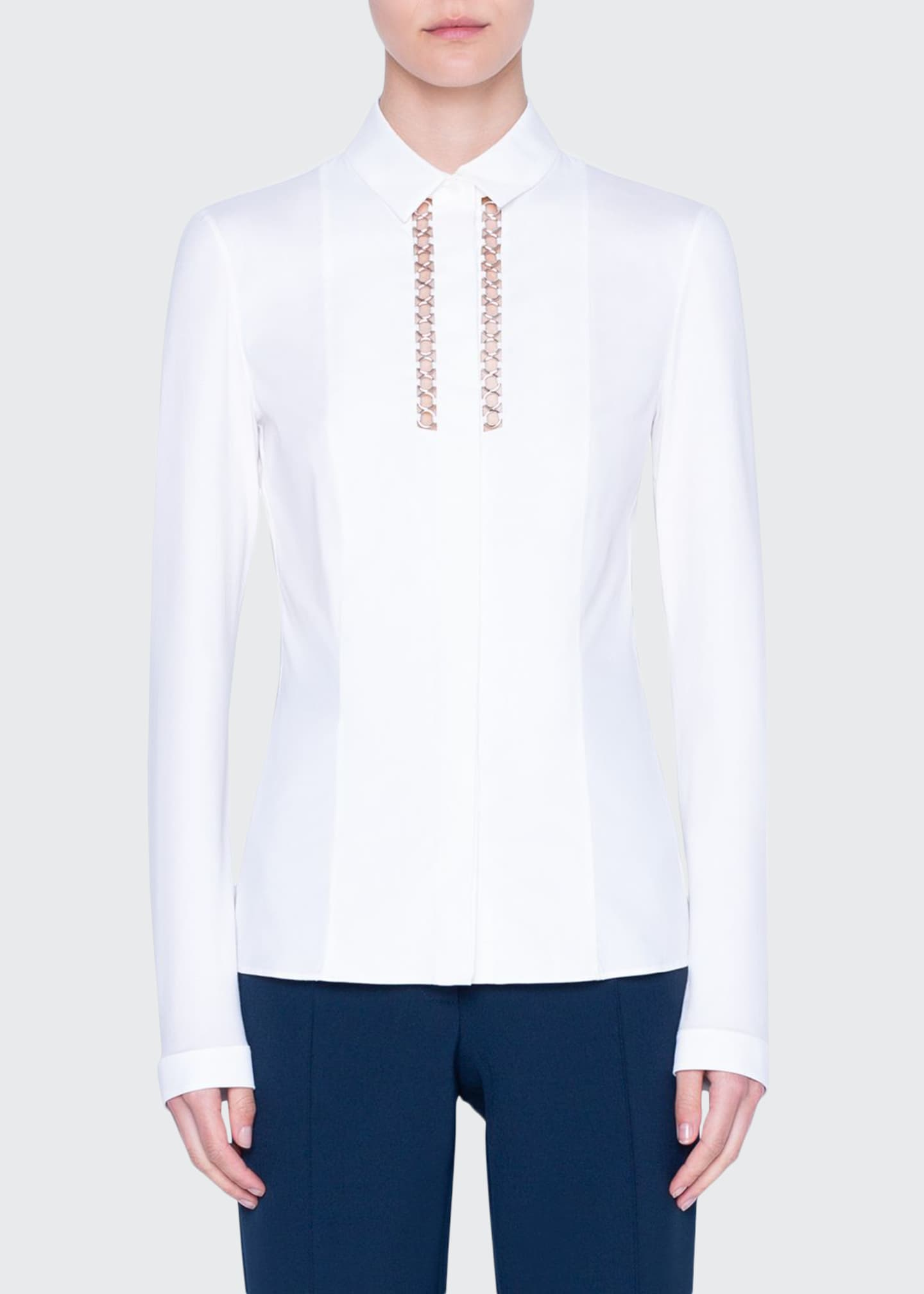 Akris punto Chain-Inset Jersey Back Shirt