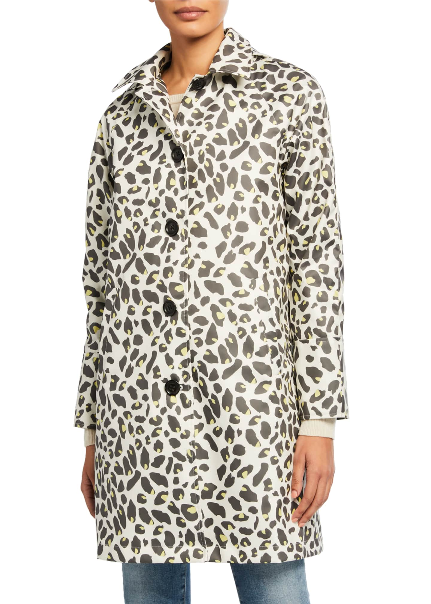 Jane Post Leopard-Print Button-Up Slicker