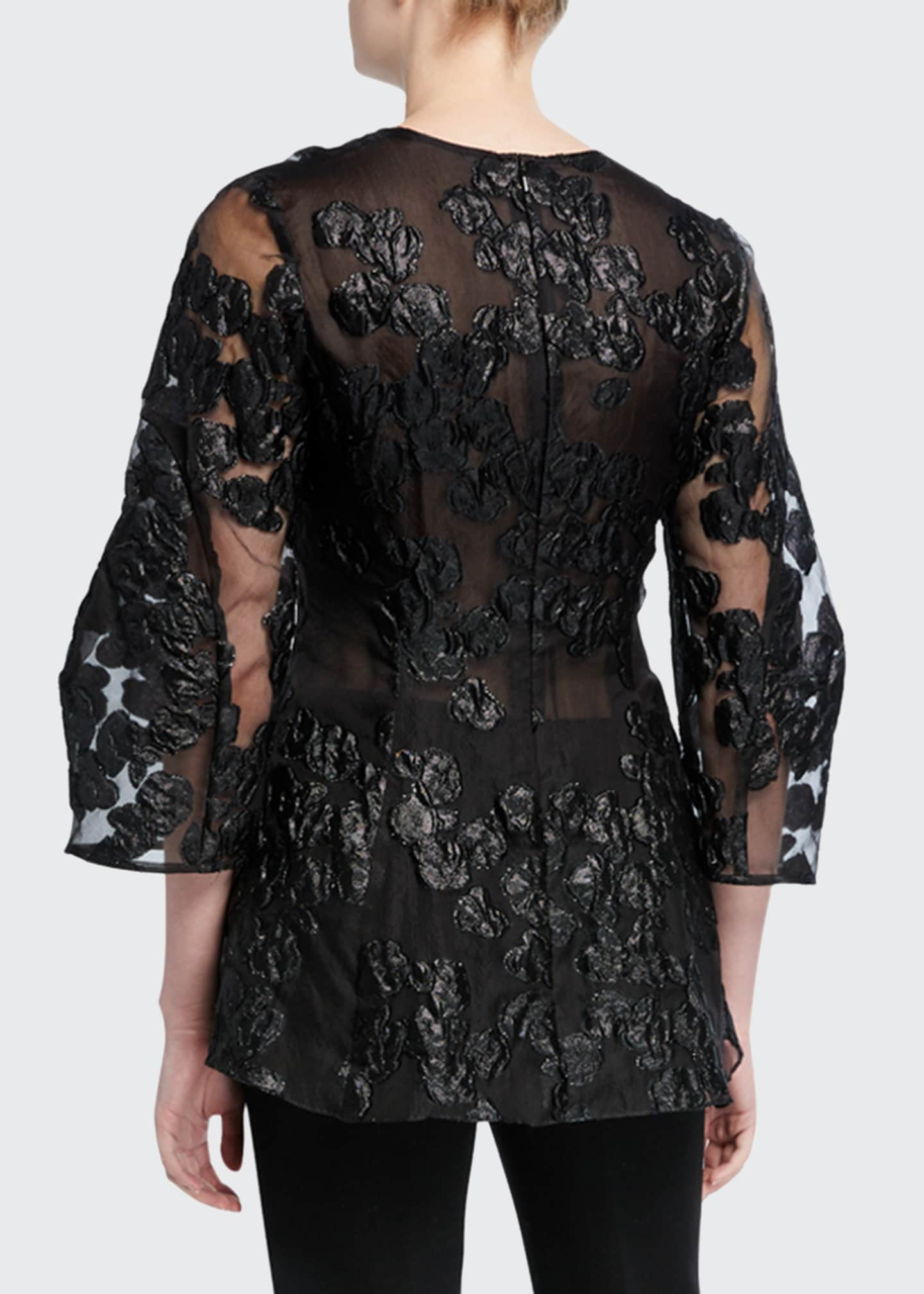 Image 2 of 2: Lace Full-Sleeve V-Neck Blouse
