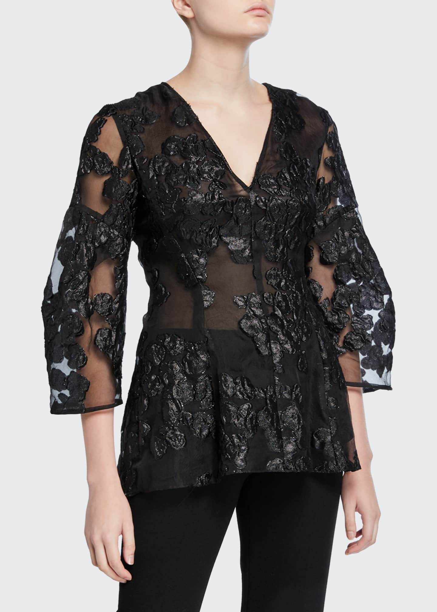 Image 1 of 2: Lace Full-Sleeve V-Neck Blouse