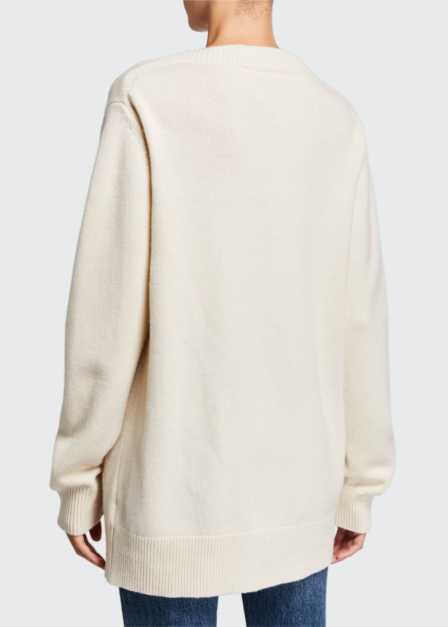 Image 2 of 2: Wool-Cashmere V-Neck Boyfriend Sweater