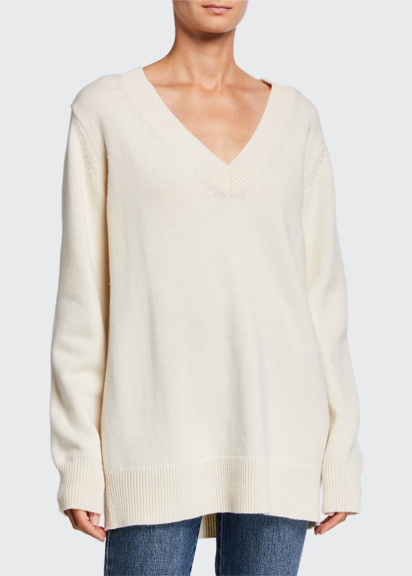 Image 1 of 2: Wool-Cashmere V-Neck Boyfriend Sweater