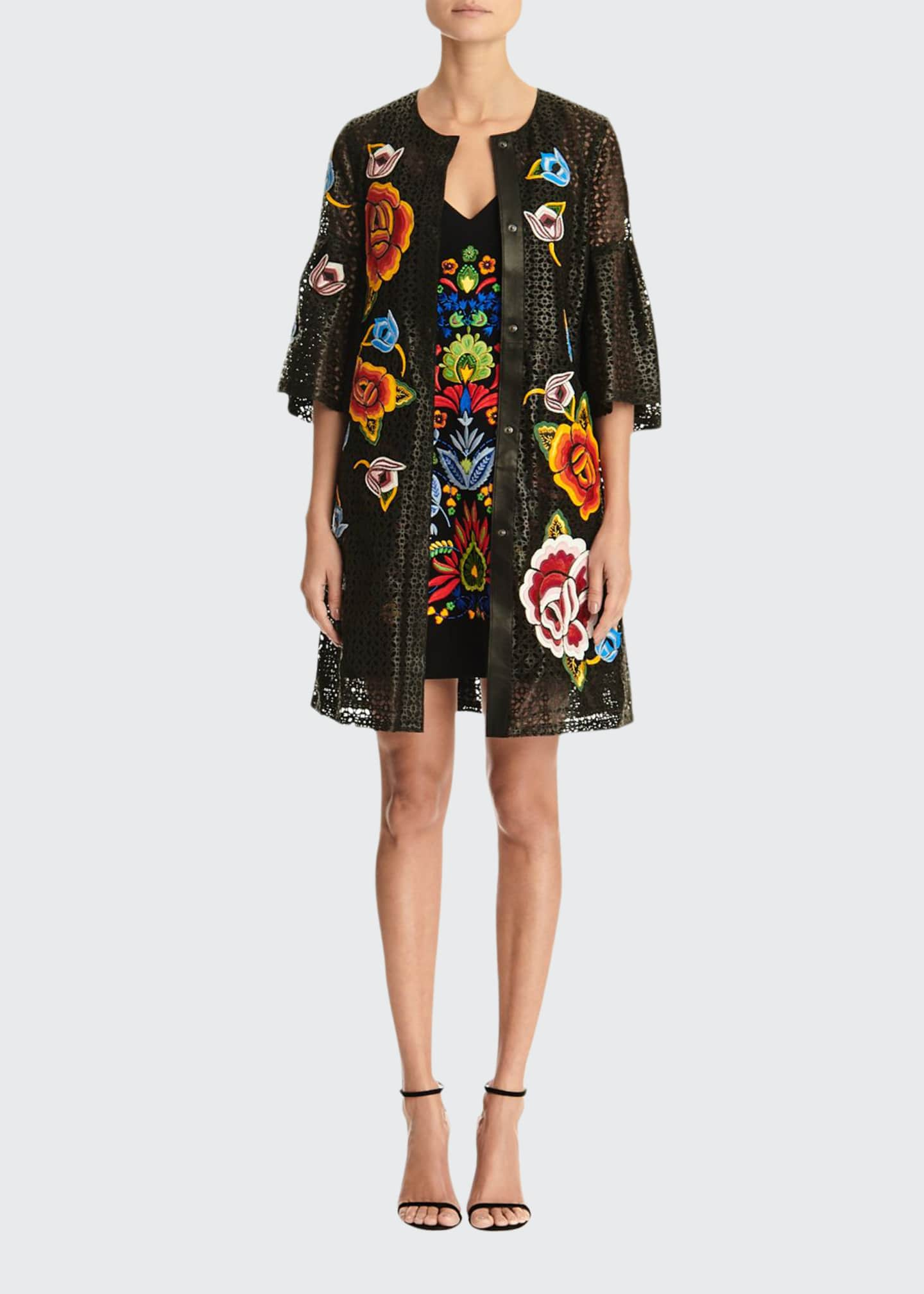 Carolina Herrera Floral Embroidered Bell-Sleeve Laser Cut Leather