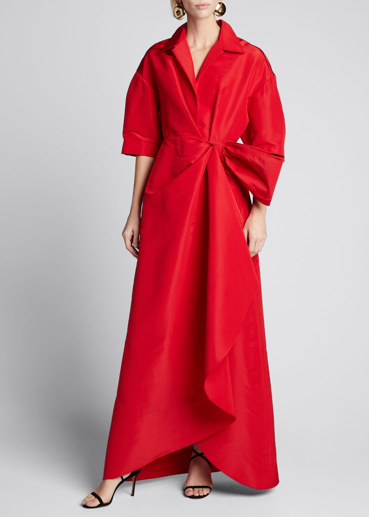 Carolina Herrera Collared 1/2-Sleeve Gown w/ Fan Detail