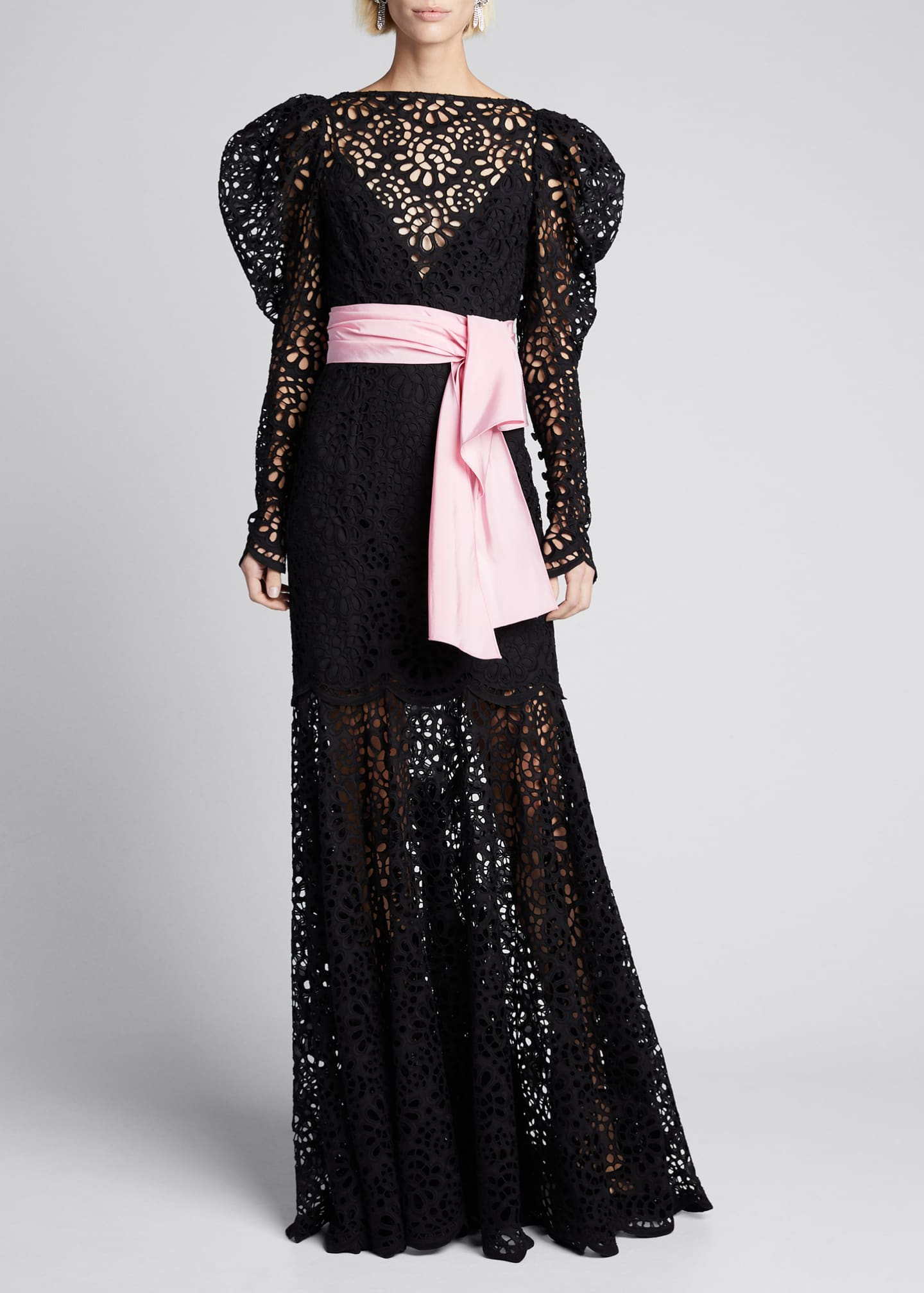 Carolina Herrera Puff-Sleeve Lace Illusion Gown
