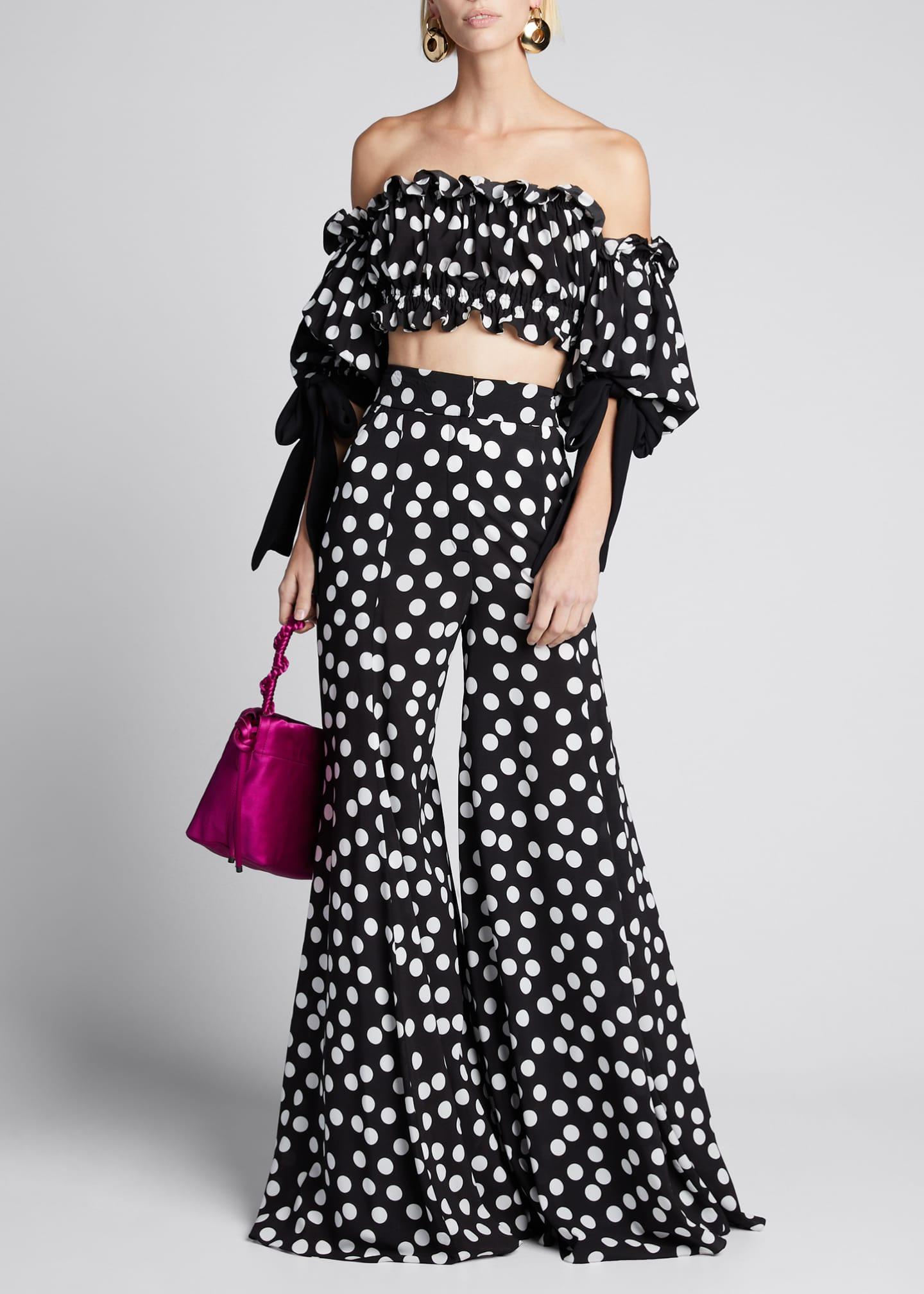 Carolina Herrera Polka-Dot Print Extra Wide-Leg Pants