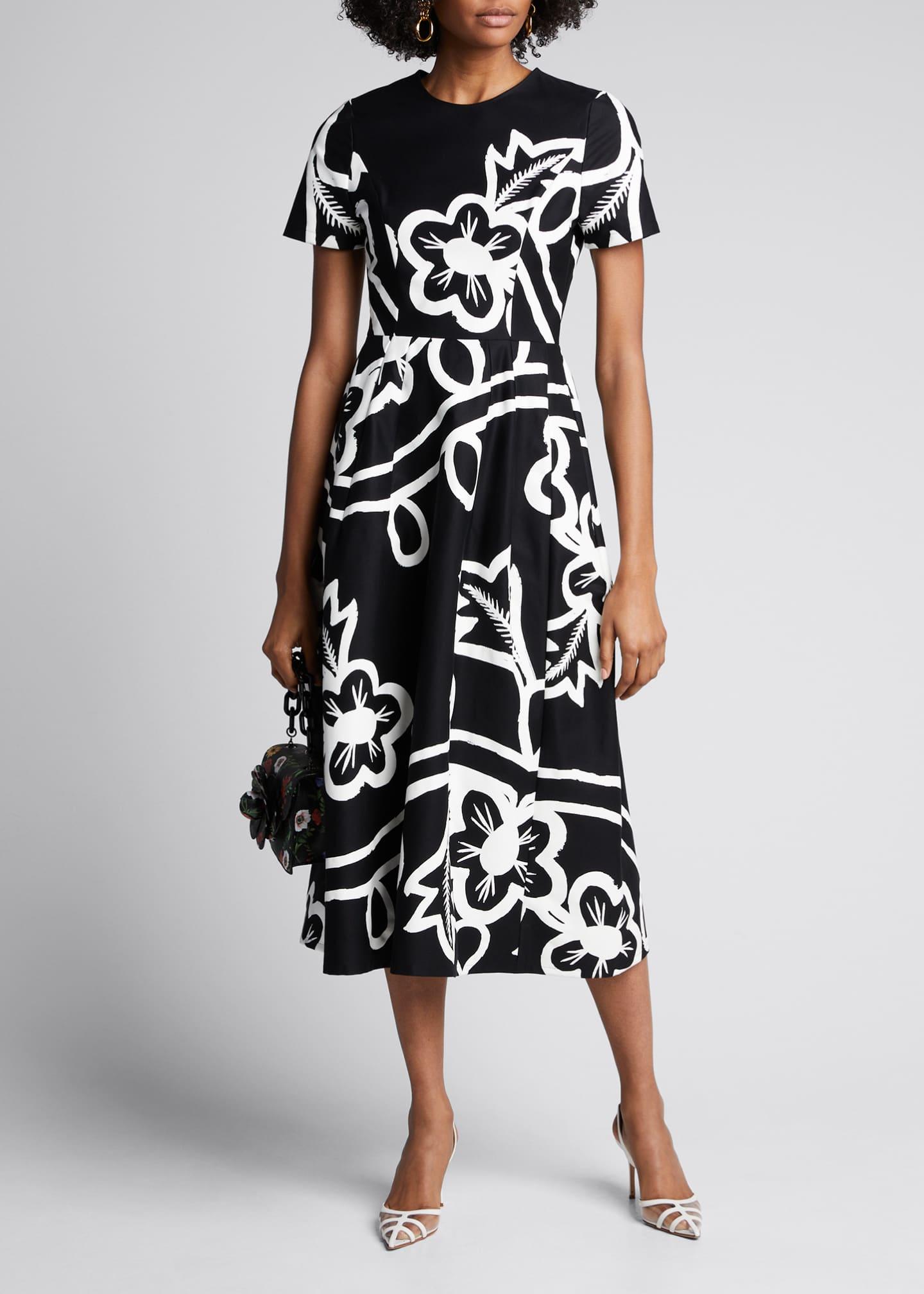 Carolina Herrera Floral-Print Poplin Short-Sleeve Dress