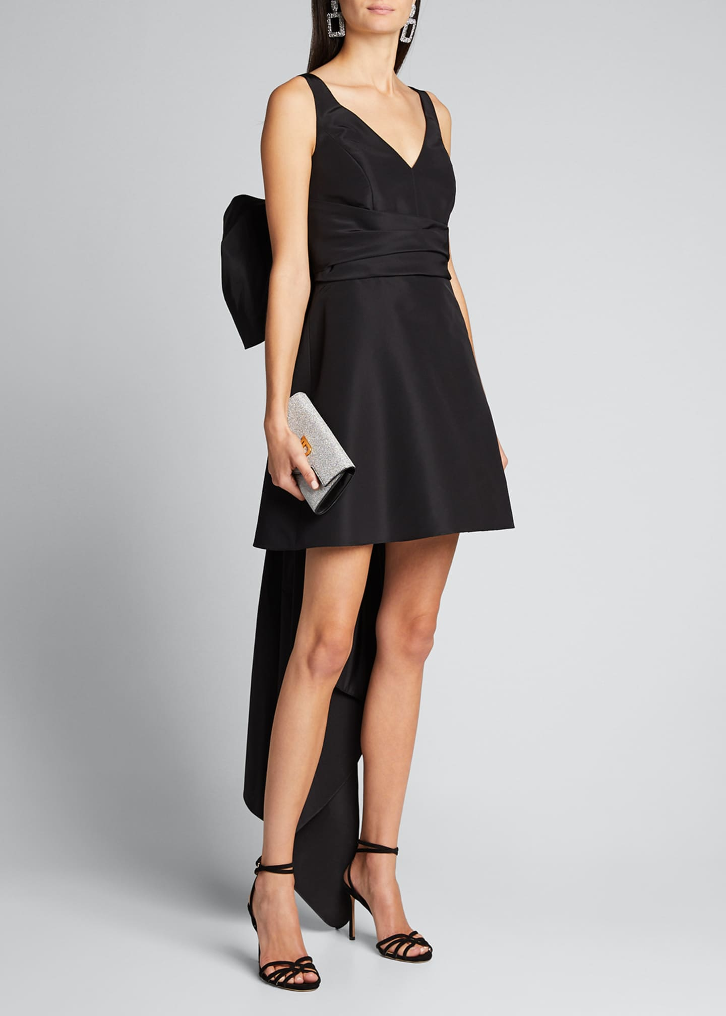 Carolina Herrera V-Neck A-Line Mini Dress w/ Back