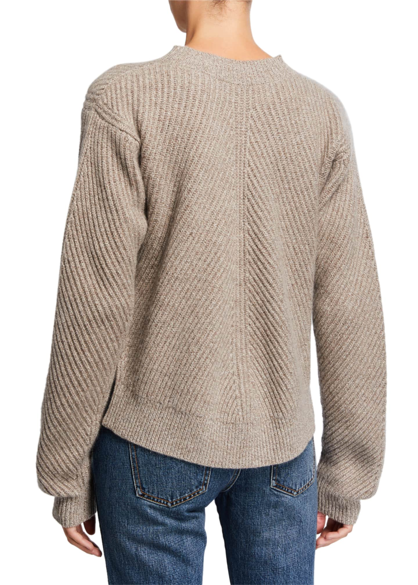 Image 2 of 2: Cashmere Chevron Ribbed Sweater