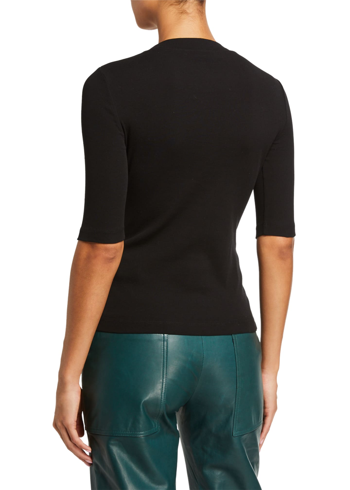 Image 2 of 2: Cotton Cropped-Sleeve T-Shirt