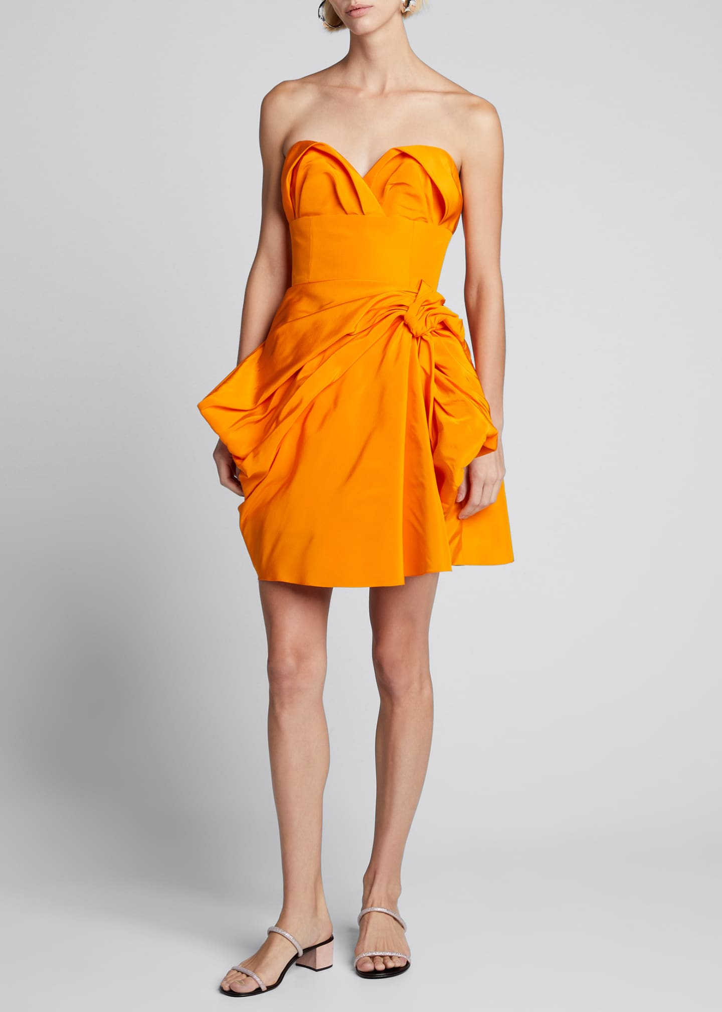Carolina Herrera Strapless Sweetheart Bowed Silk Mini Dress