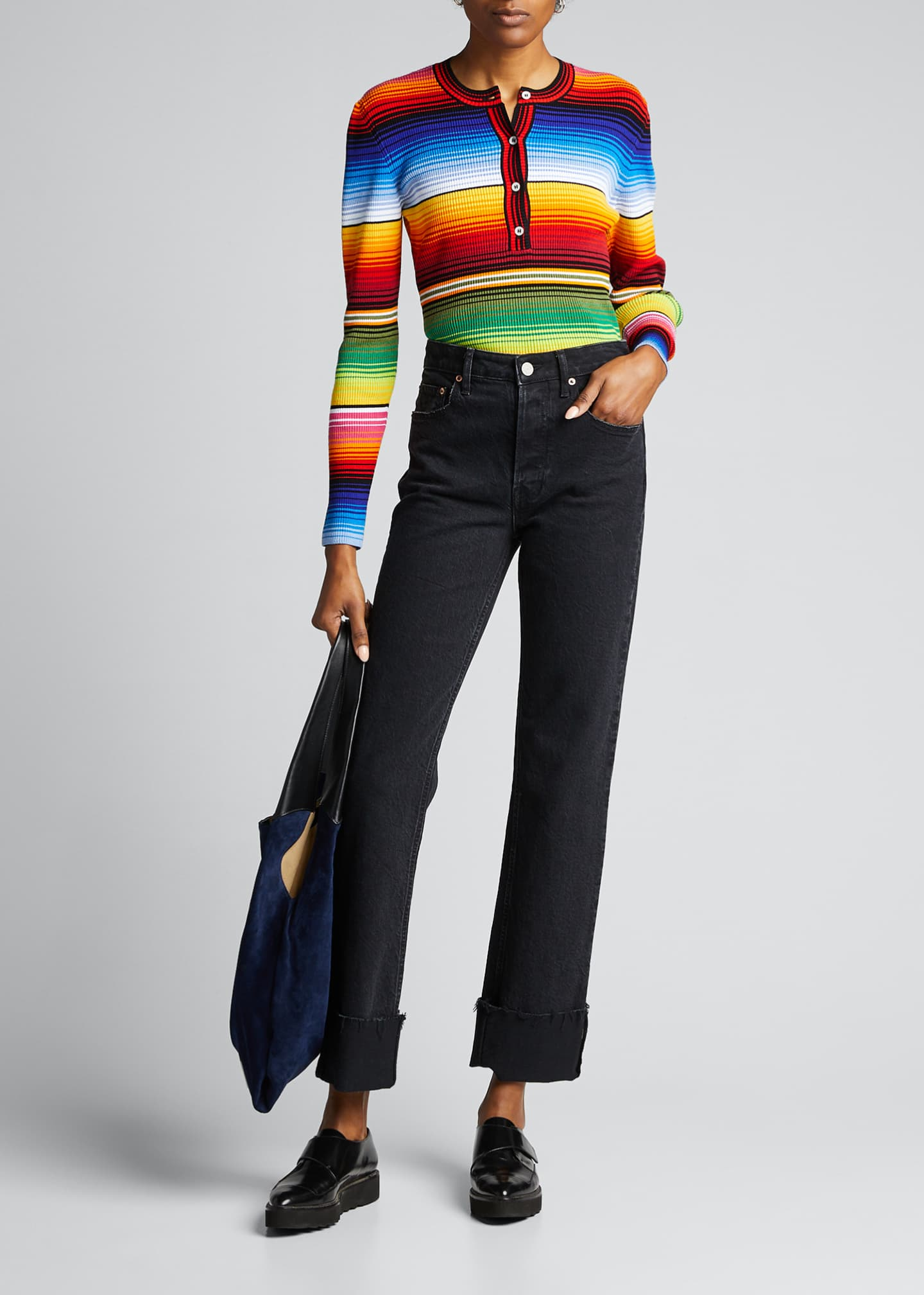Carolina Herrera Striped Jersey Henley Sweater
