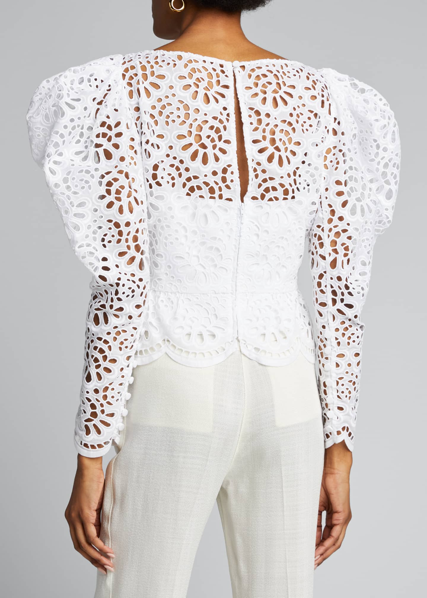 Image 2 of 5: Dramatic Puff-Sleeve Lace Blouse