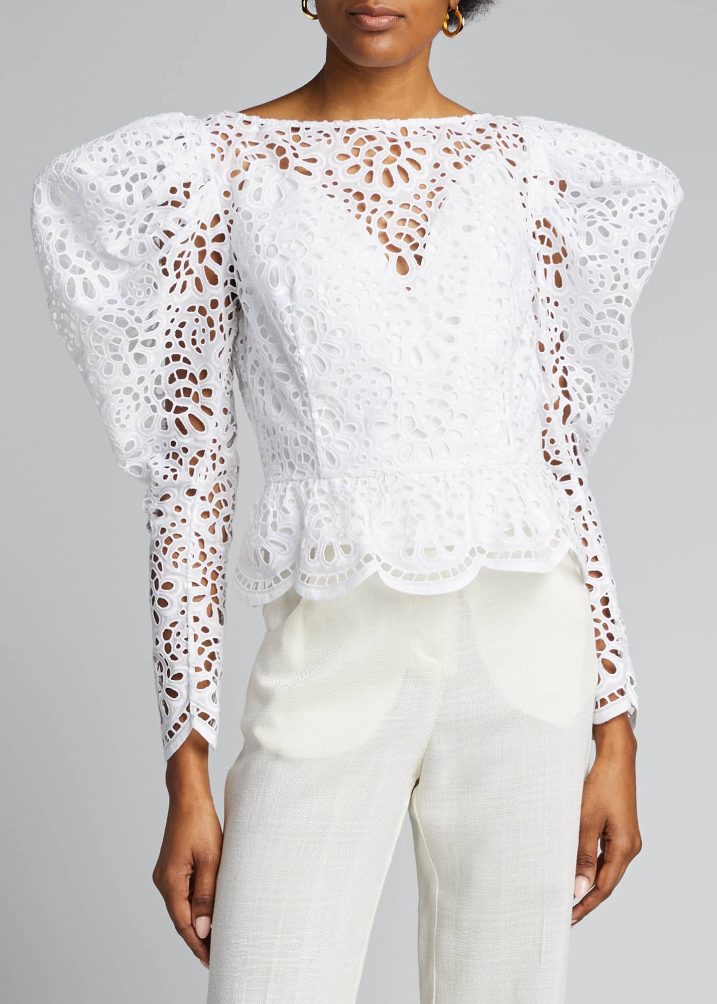 Image 3 of 5: Dramatic Puff-Sleeve Lace Blouse