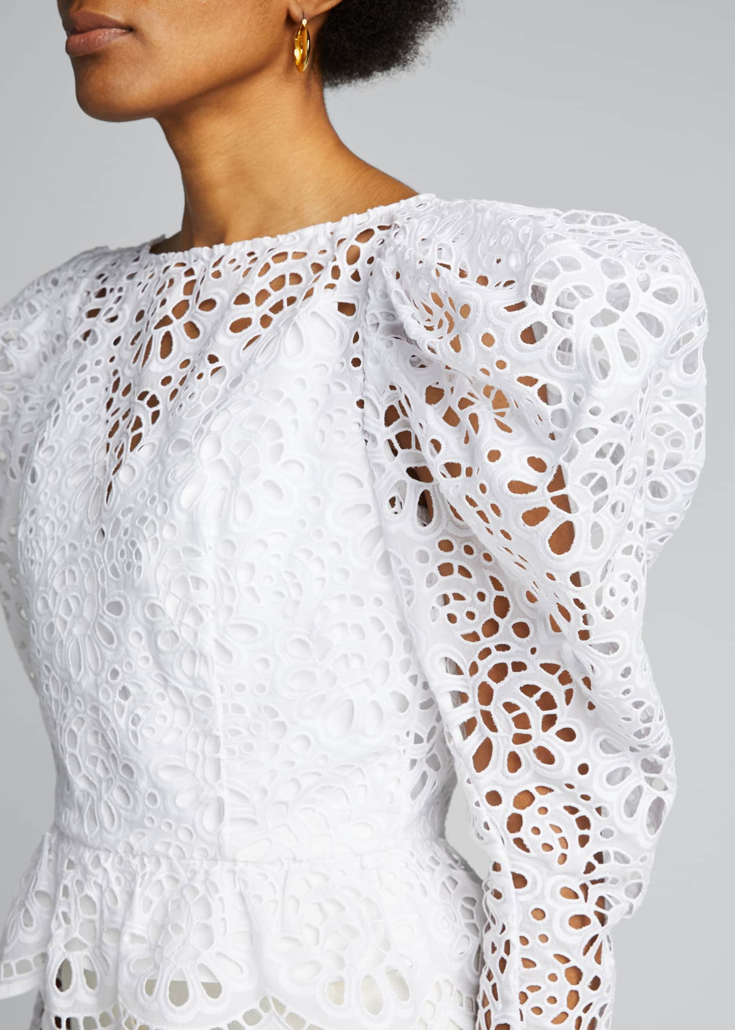 Image 4 of 5: Dramatic Puff-Sleeve Lace Blouse