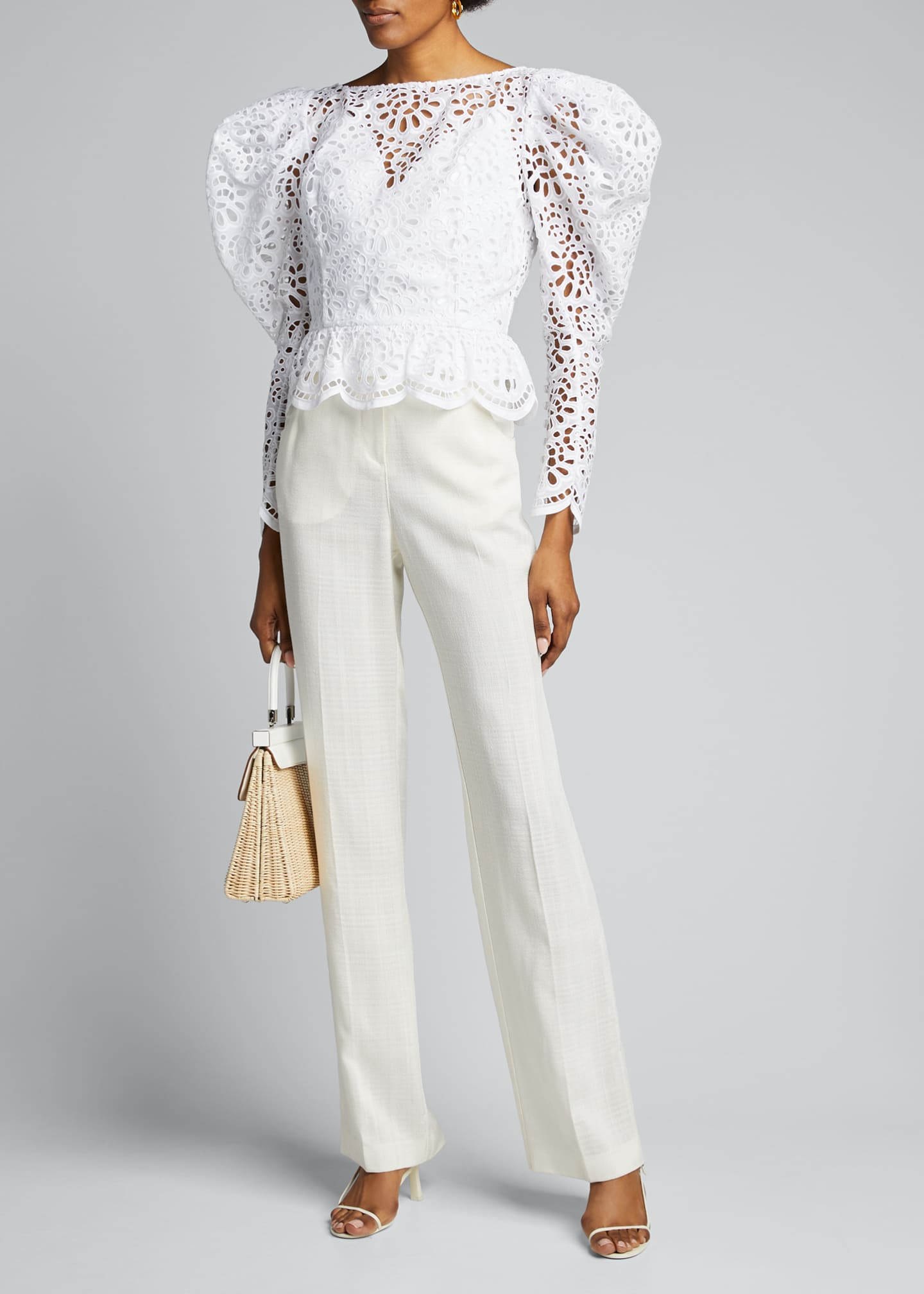 Image 1 of 5: Dramatic Puff-Sleeve Lace Blouse