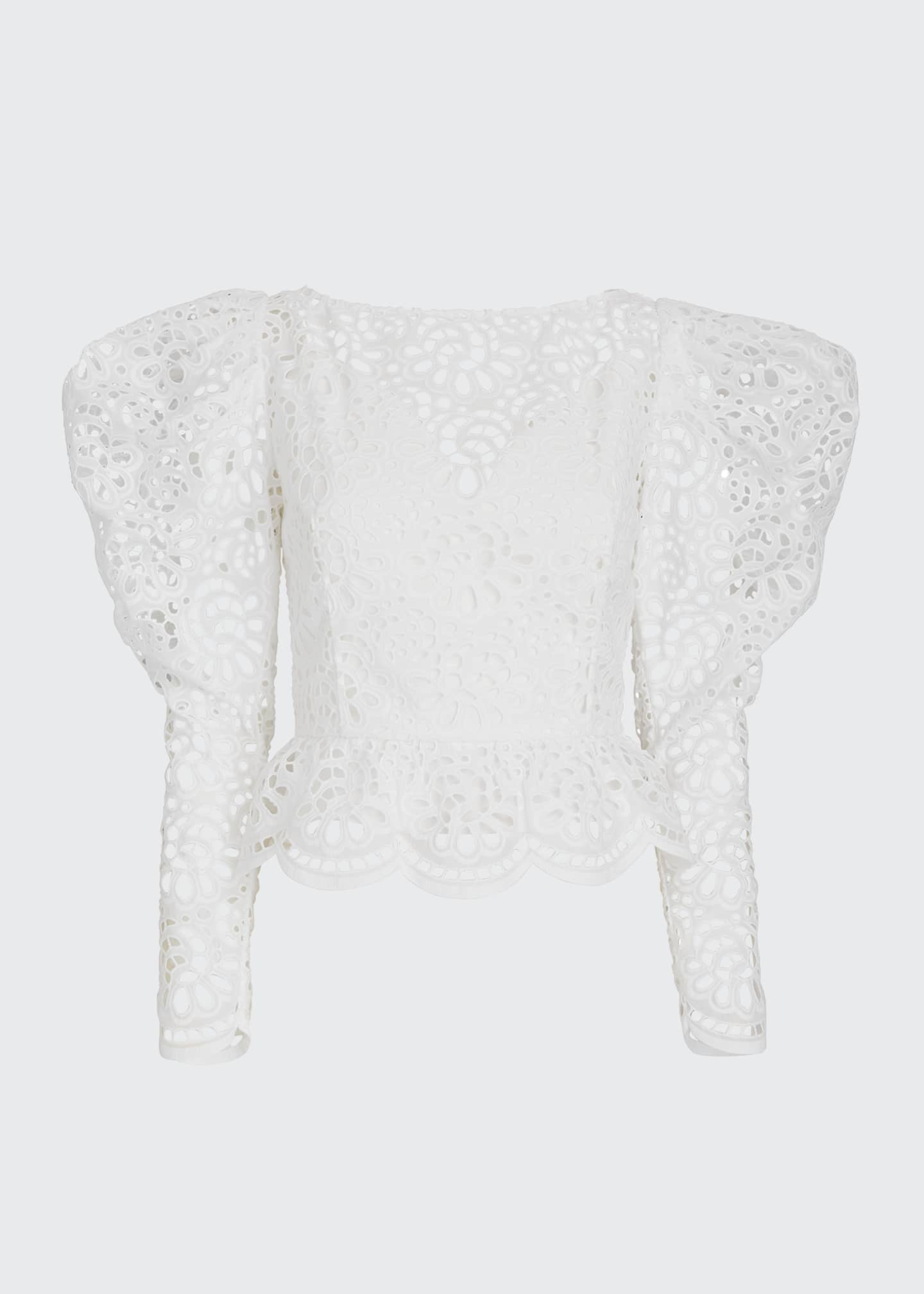 Image 5 of 5: Dramatic Puff-Sleeve Lace Blouse