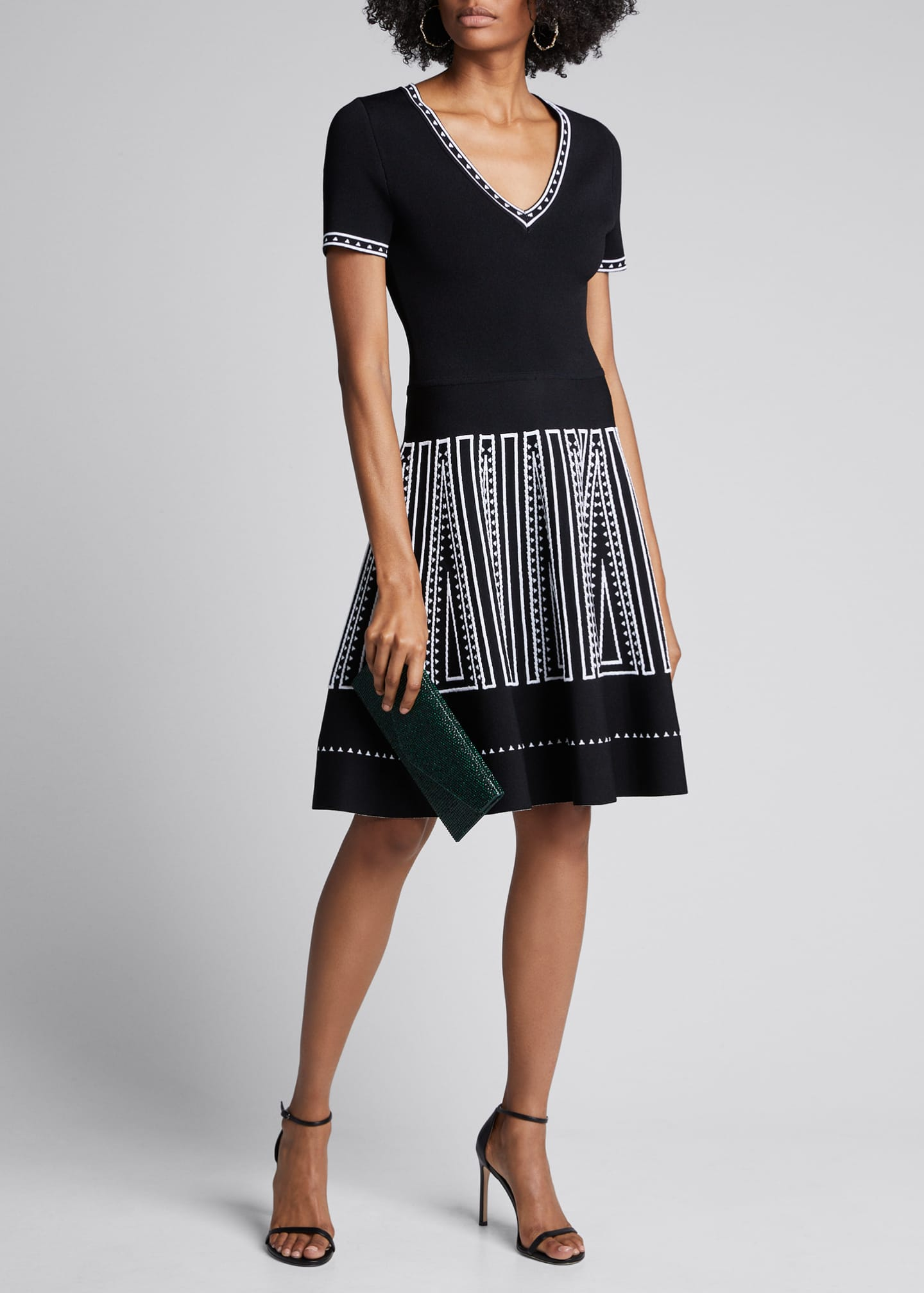 Carolina Herrera Geometric-Embroidered Knit Fit-&-Flare Dress