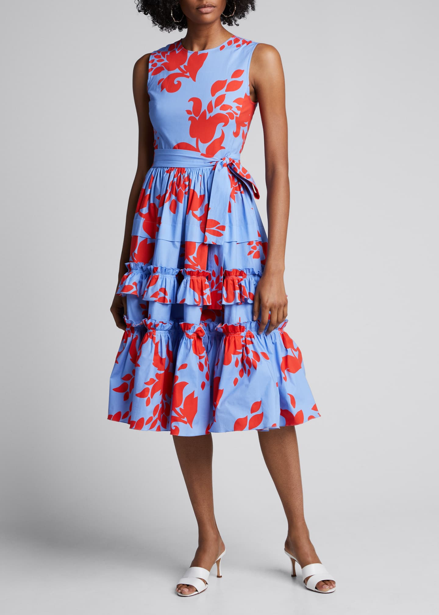 Carolina Herrera Floral-Print Sleeveless Tiered Ruffle Dress