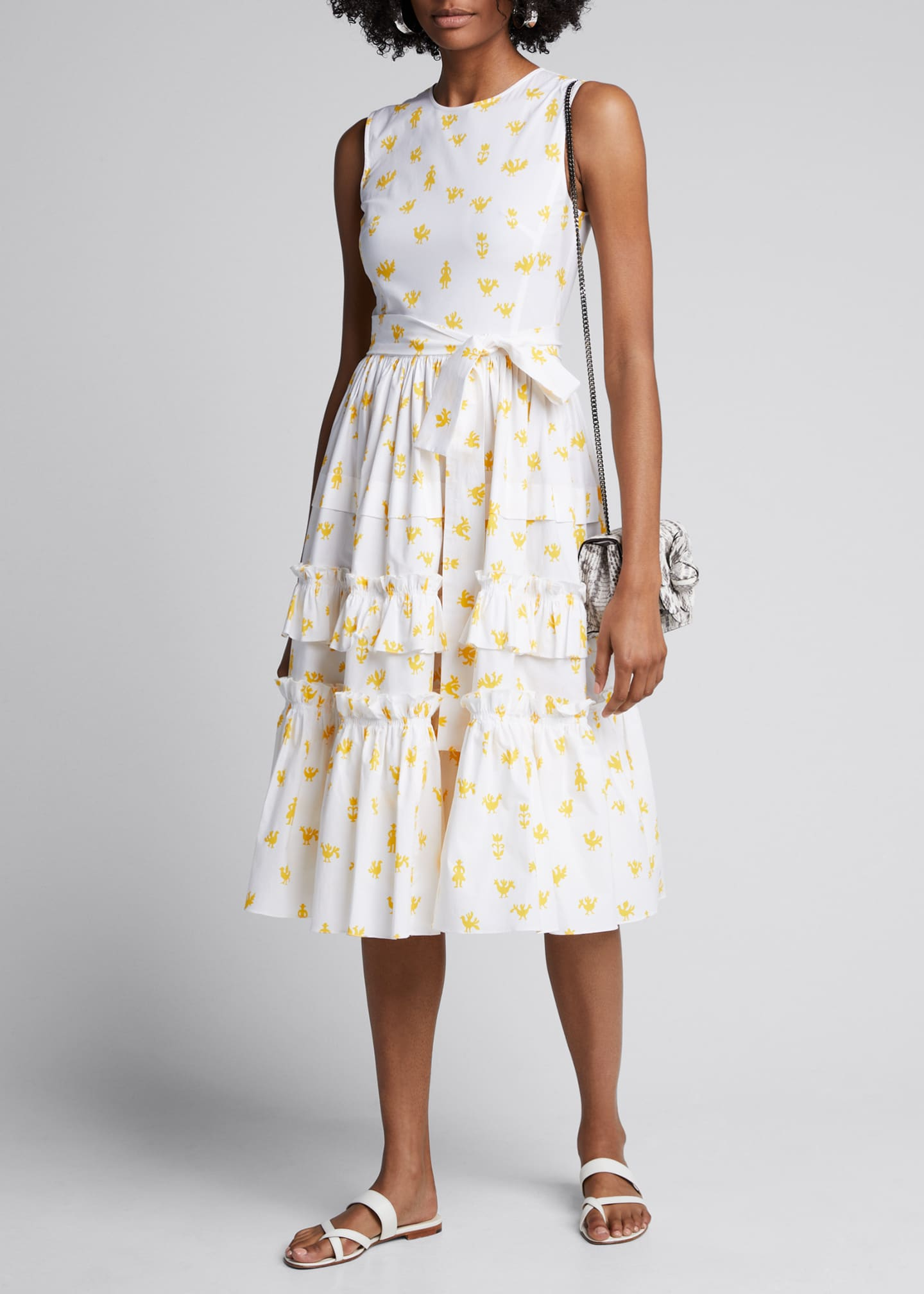 Carolina Herrera Printed Poplin Ruffle Tiered Dress