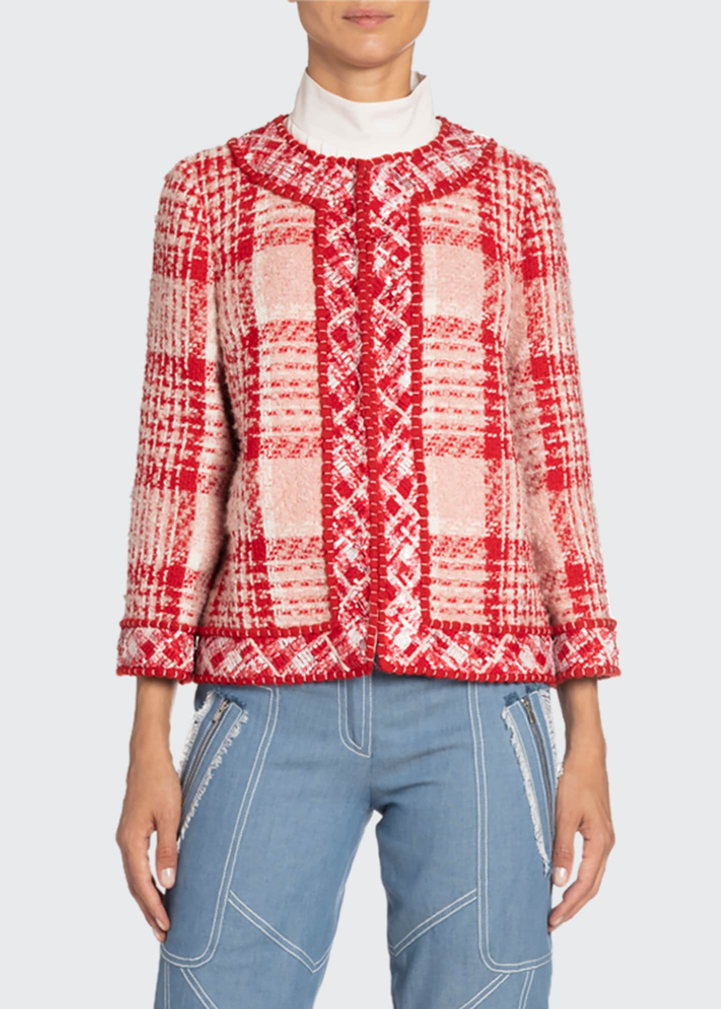 Image 1 of 2: Boxy Plaid Woven Jacket