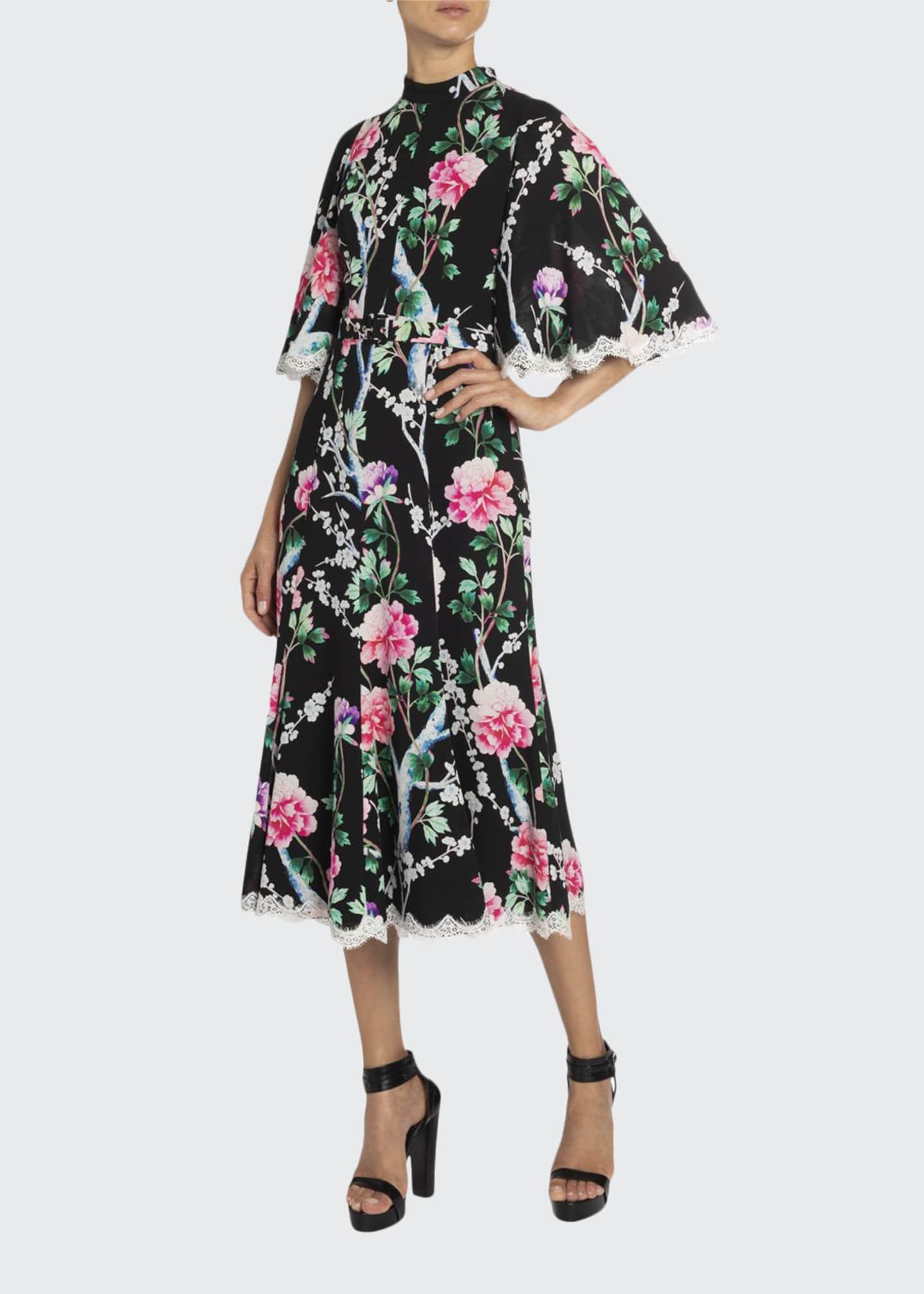 Andrew Gn Lace-Trim Floral Midi Dress