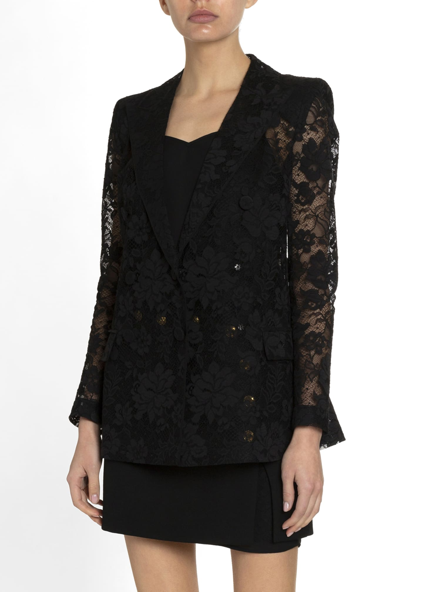 Image 1 of 2: Floral Lace Double-Breasted Blazer