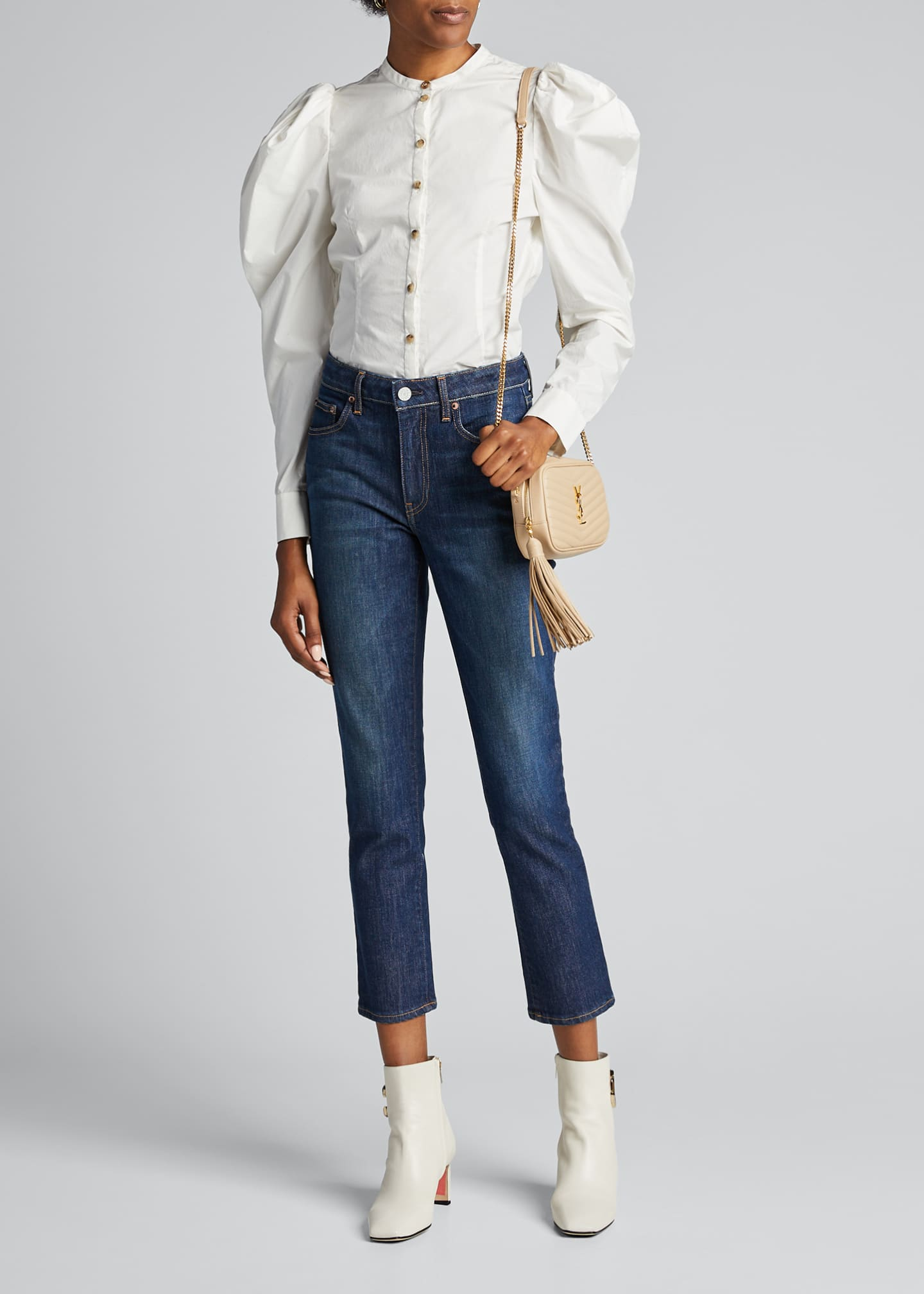 Image 1 of 5: Irina Cropped Straight-Leg Jeans