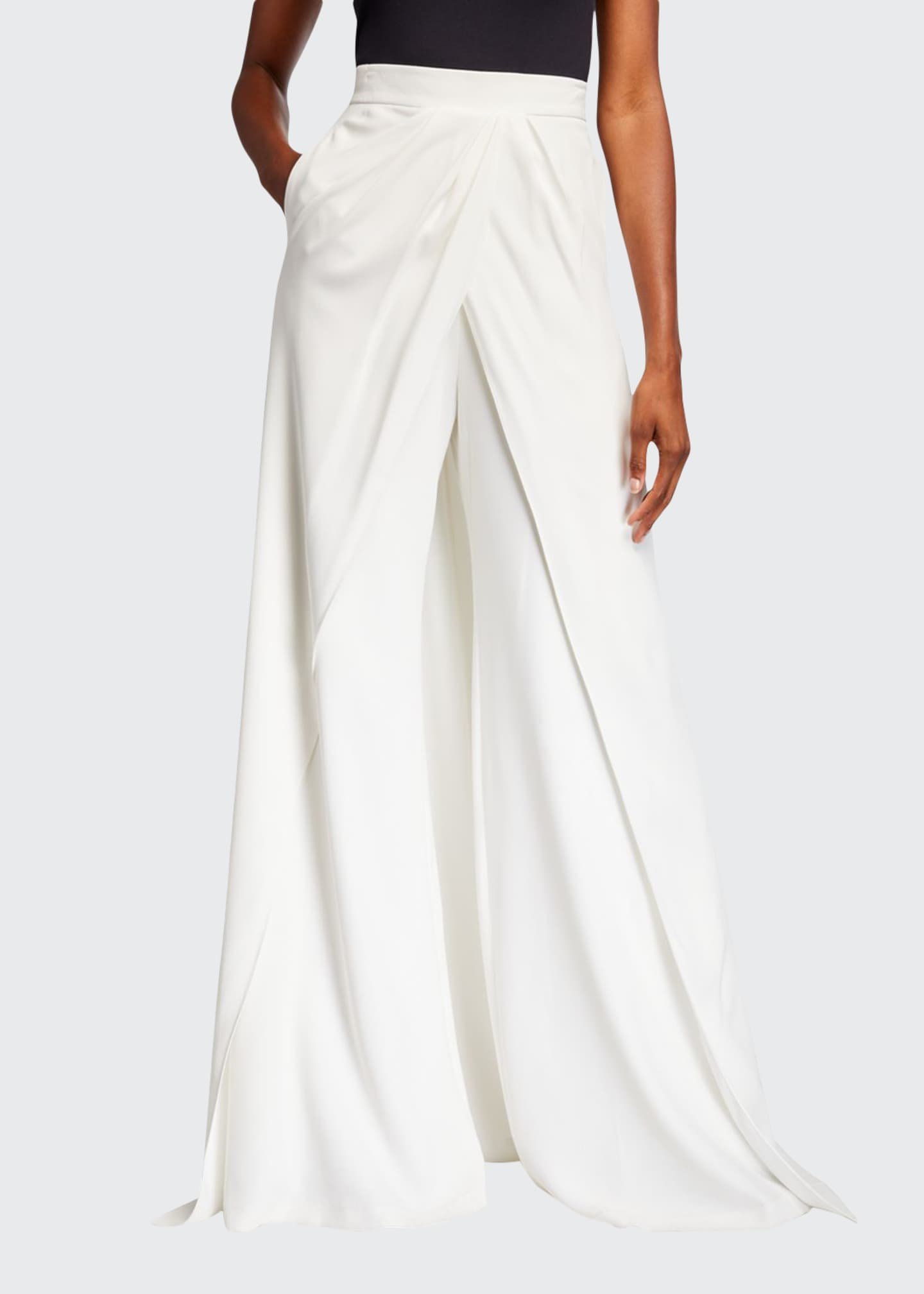 Brandon Maxwell Skirted High-Rise Train-Back Wide-Leg Pants