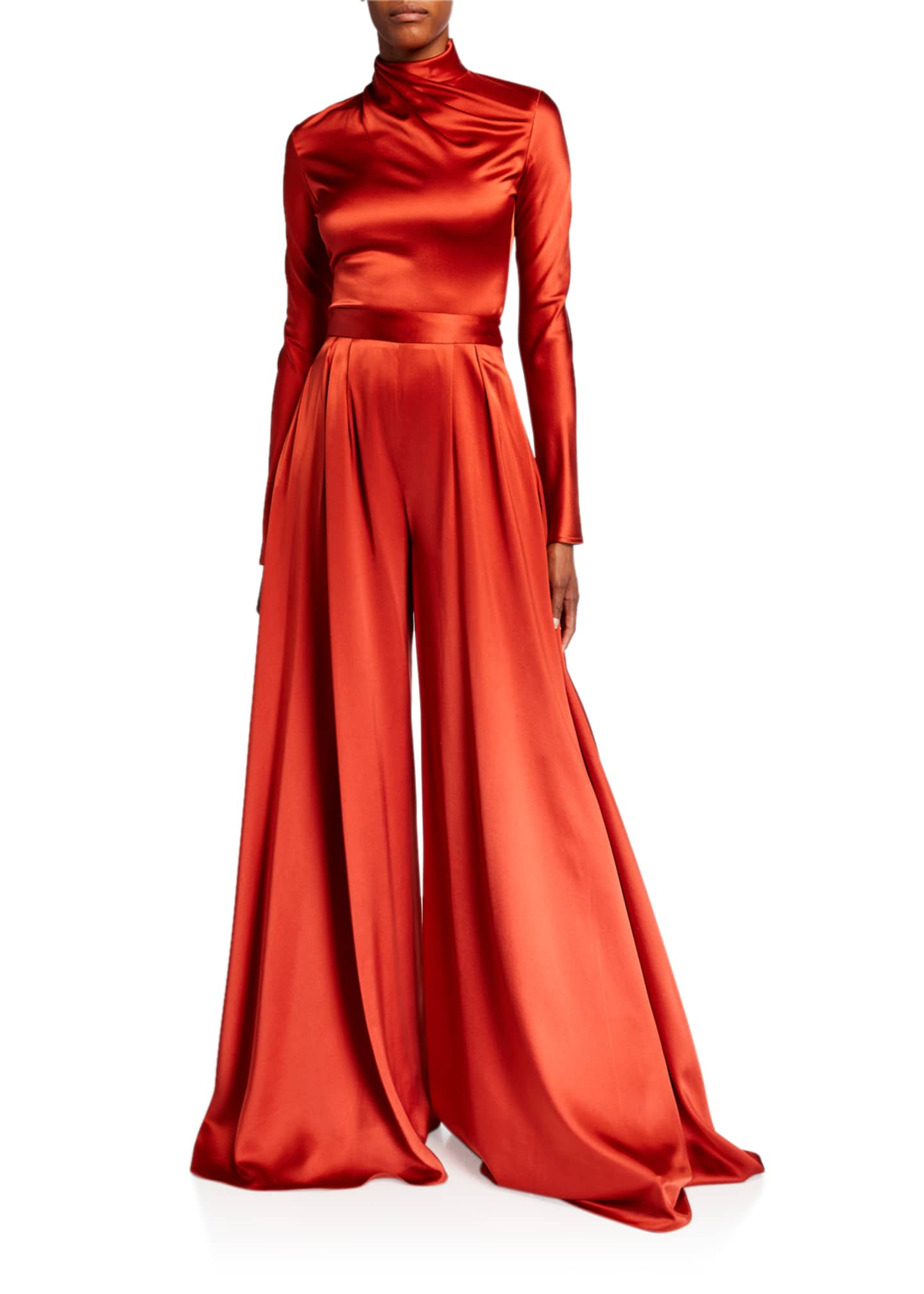 Image 3 of 3: Pleated Satin Wide-Leg Pants