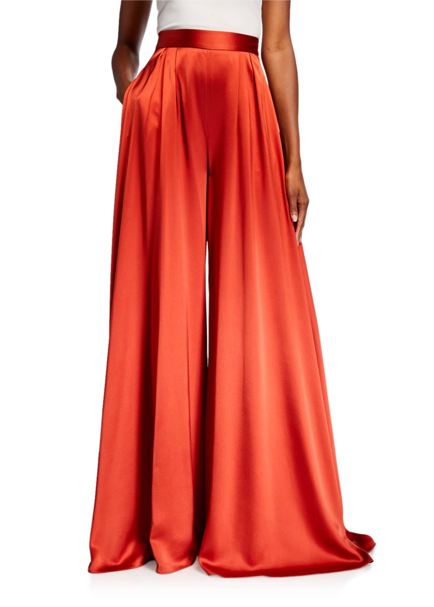 Image 1 of 3: Pleated Satin Wide-Leg Pants