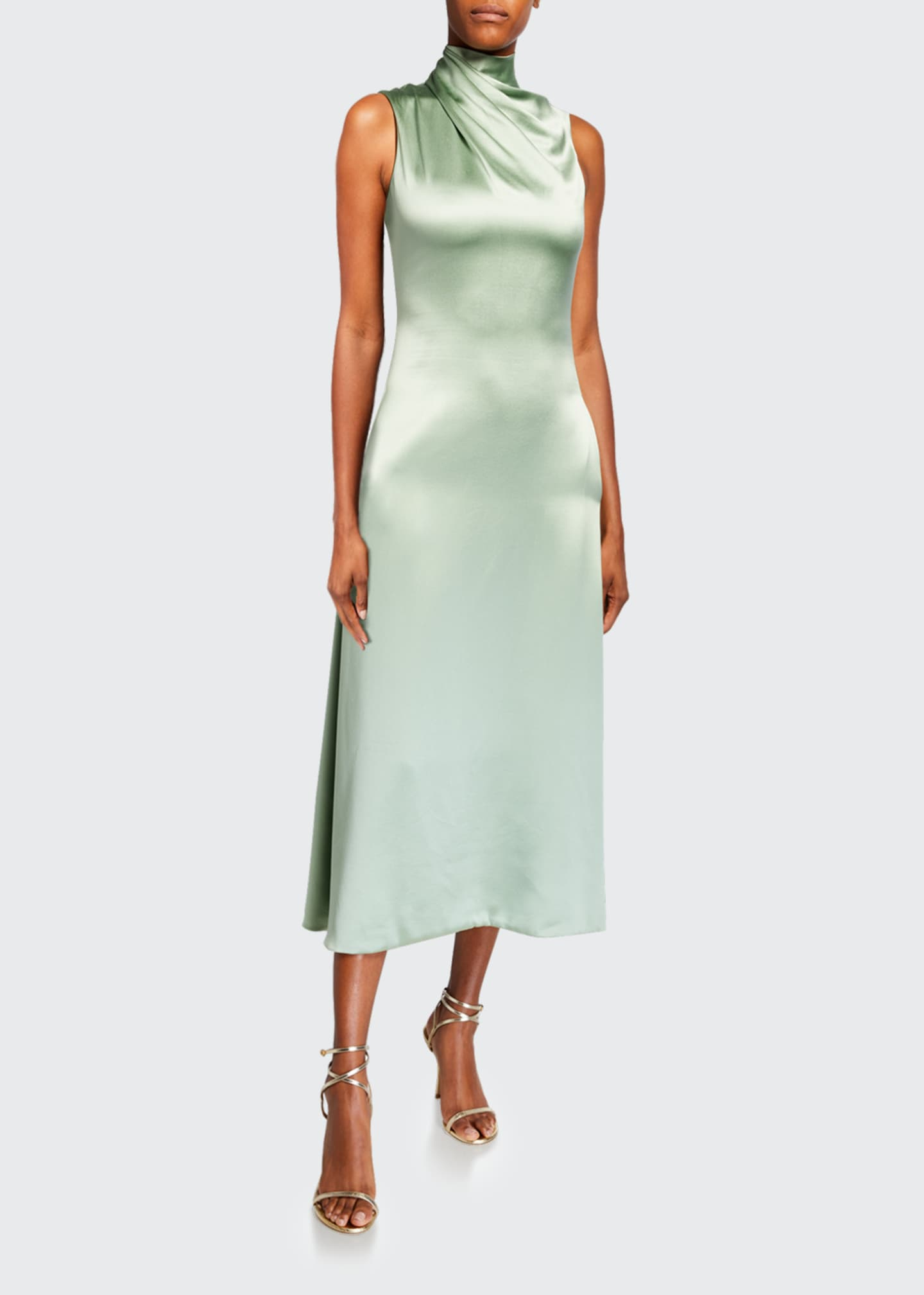 Image 1 of 2: Fluid Silk Wrapped High-Neck Dress
