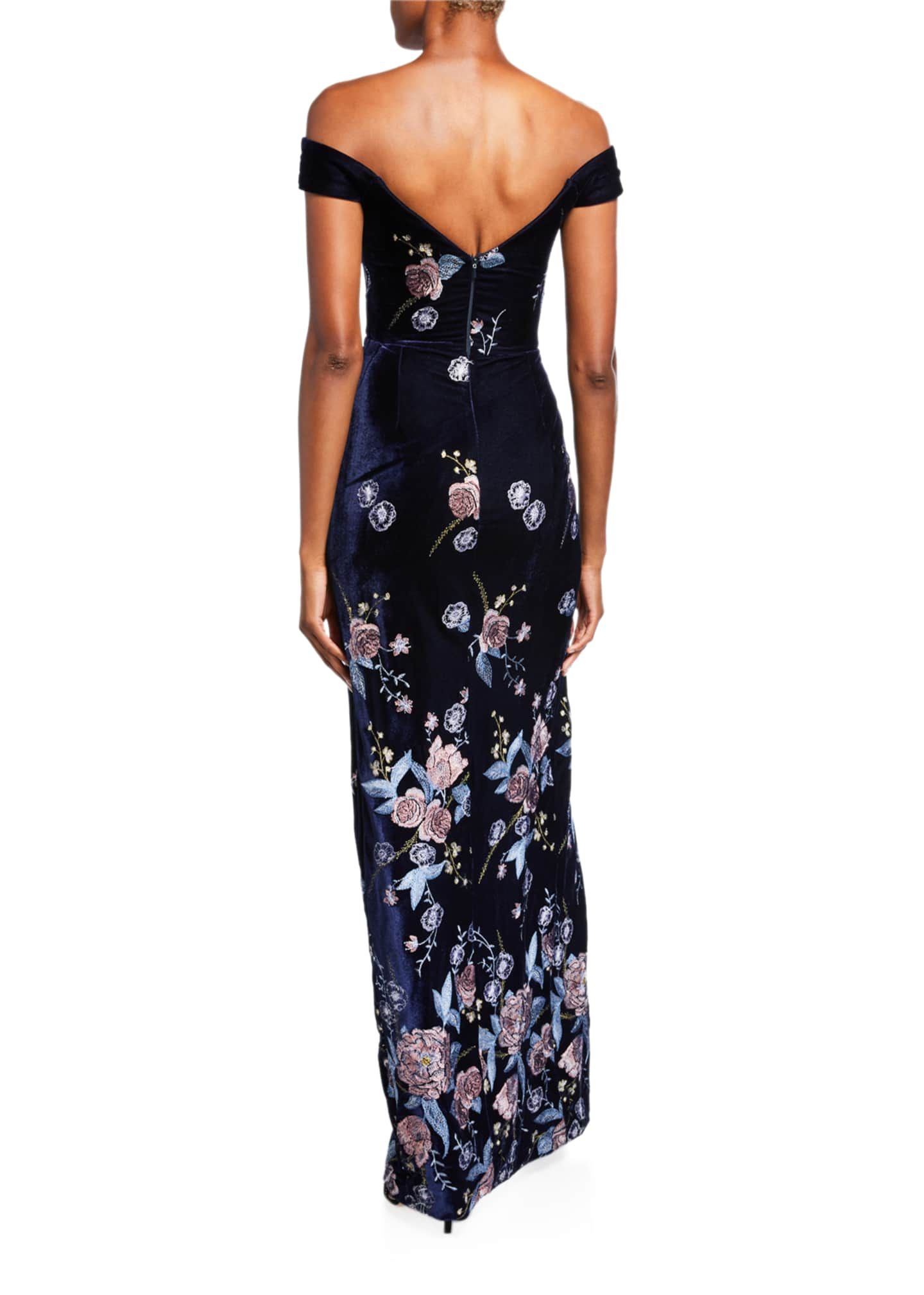 Image 2 of 2: Off-the-Shoulder Floral Embroidered Velvet Gown with Slit