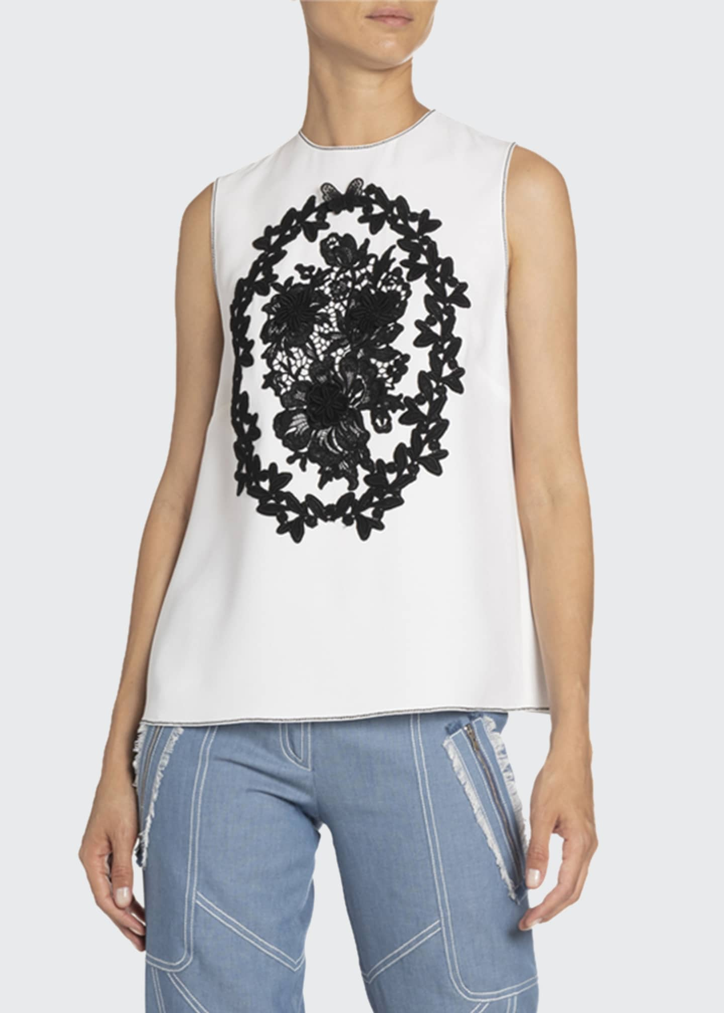 Image 1 of 2: Floral-Applique Sleeveless Top