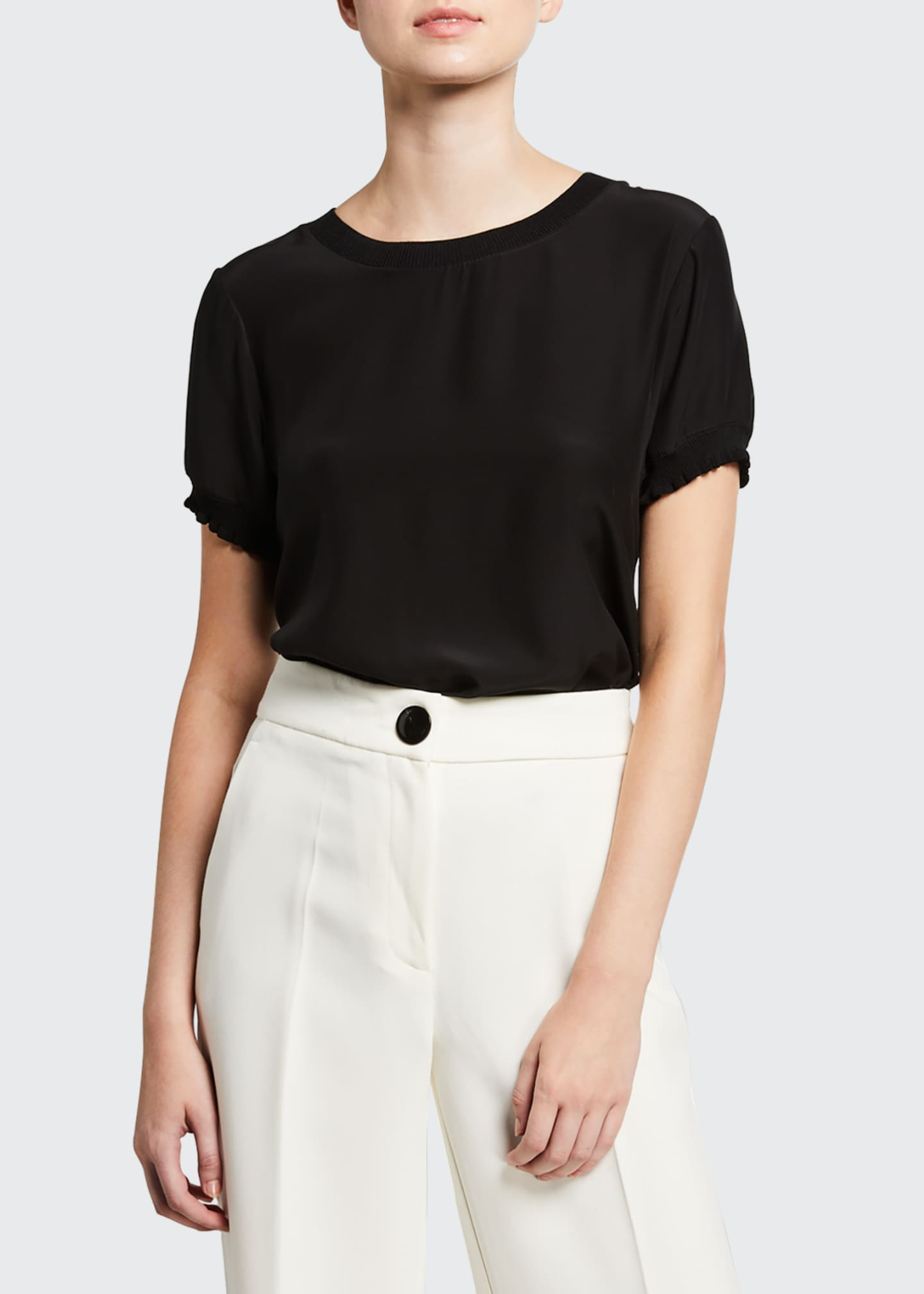 Image 2 of 3: Lenny Crewneck Short-Sleeve Silk Top