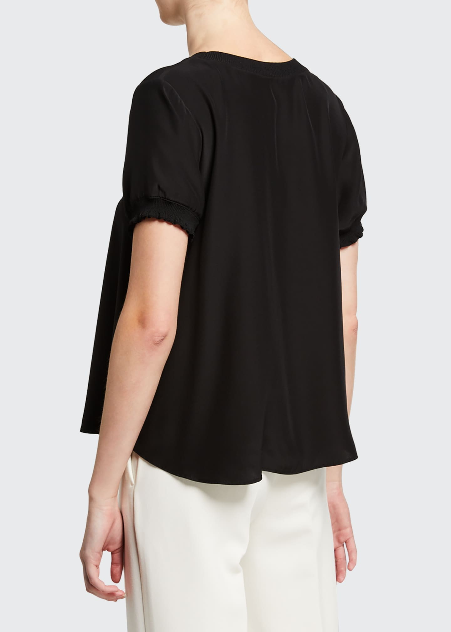 Image 3 of 3: Lenny Crewneck Short-Sleeve Silk Top