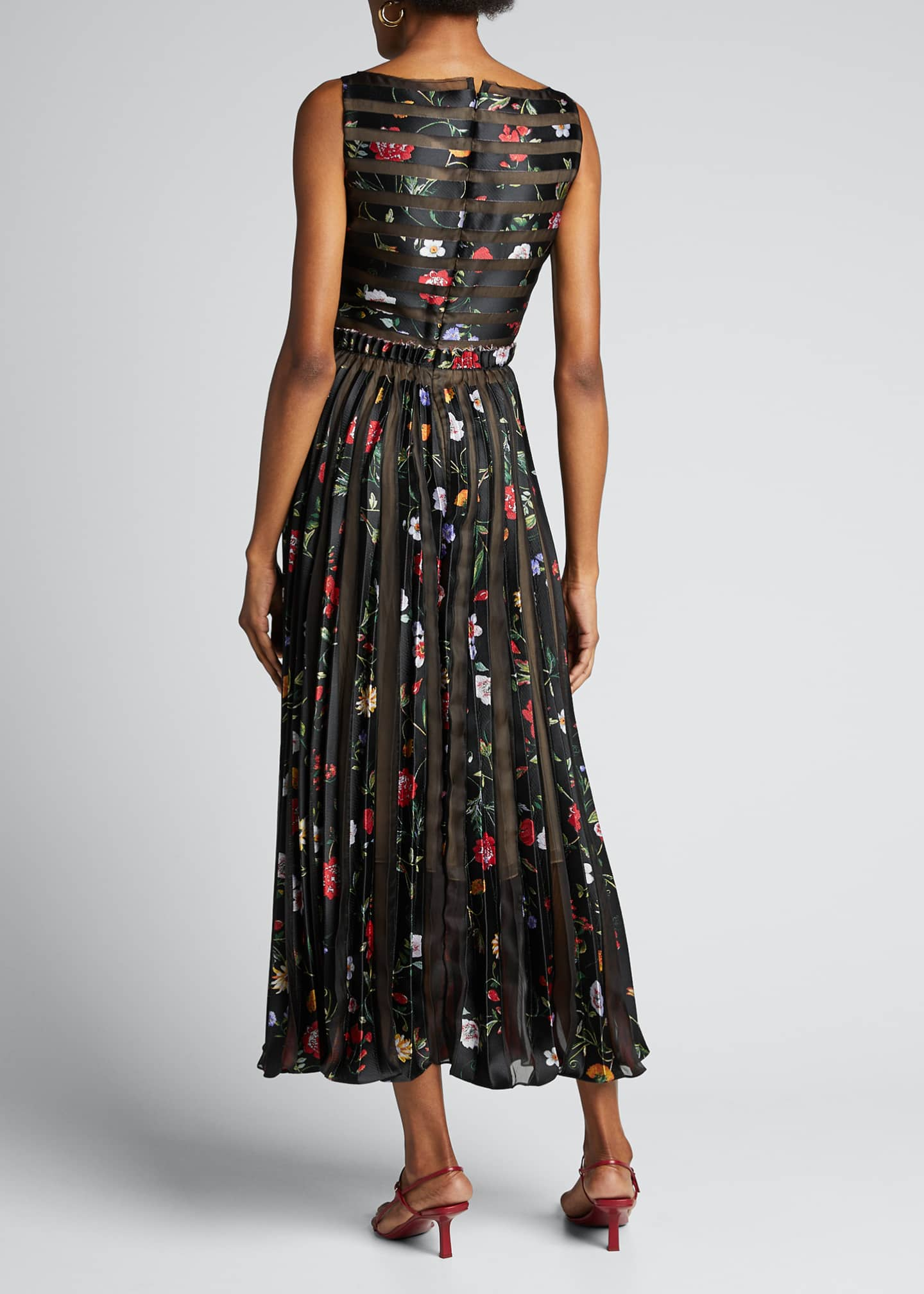 Image 2 of 5: Floral Striped Pleated Gown
