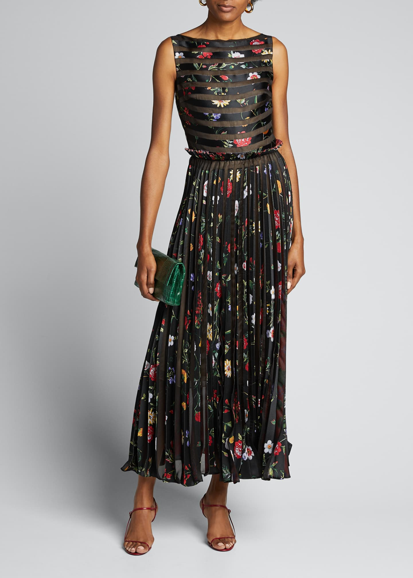 Image 1 of 5: Floral Striped Pleated Gown