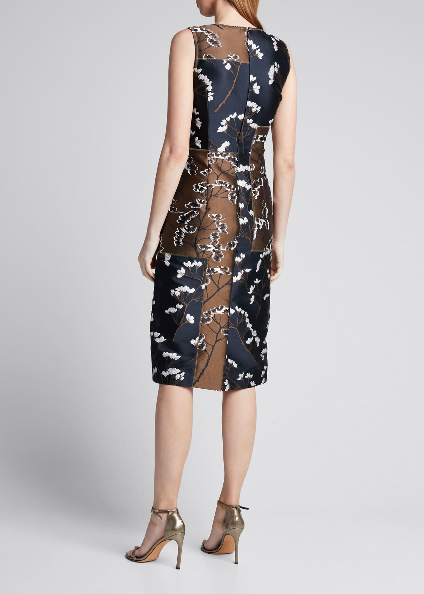 Image 2 of 5: Floral Patchwork Sleeveless Sheath Dress